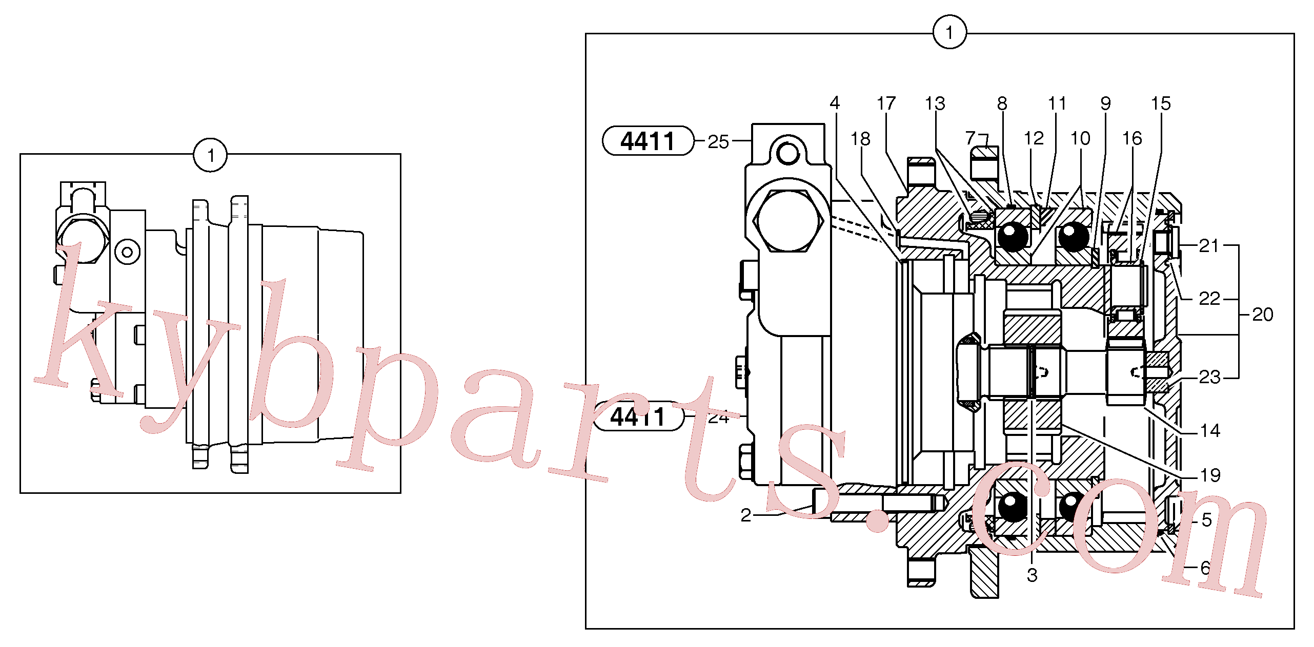PJ7415944 for Volvo Travelling gear motor assy / without brake(4411Z3 assembly)