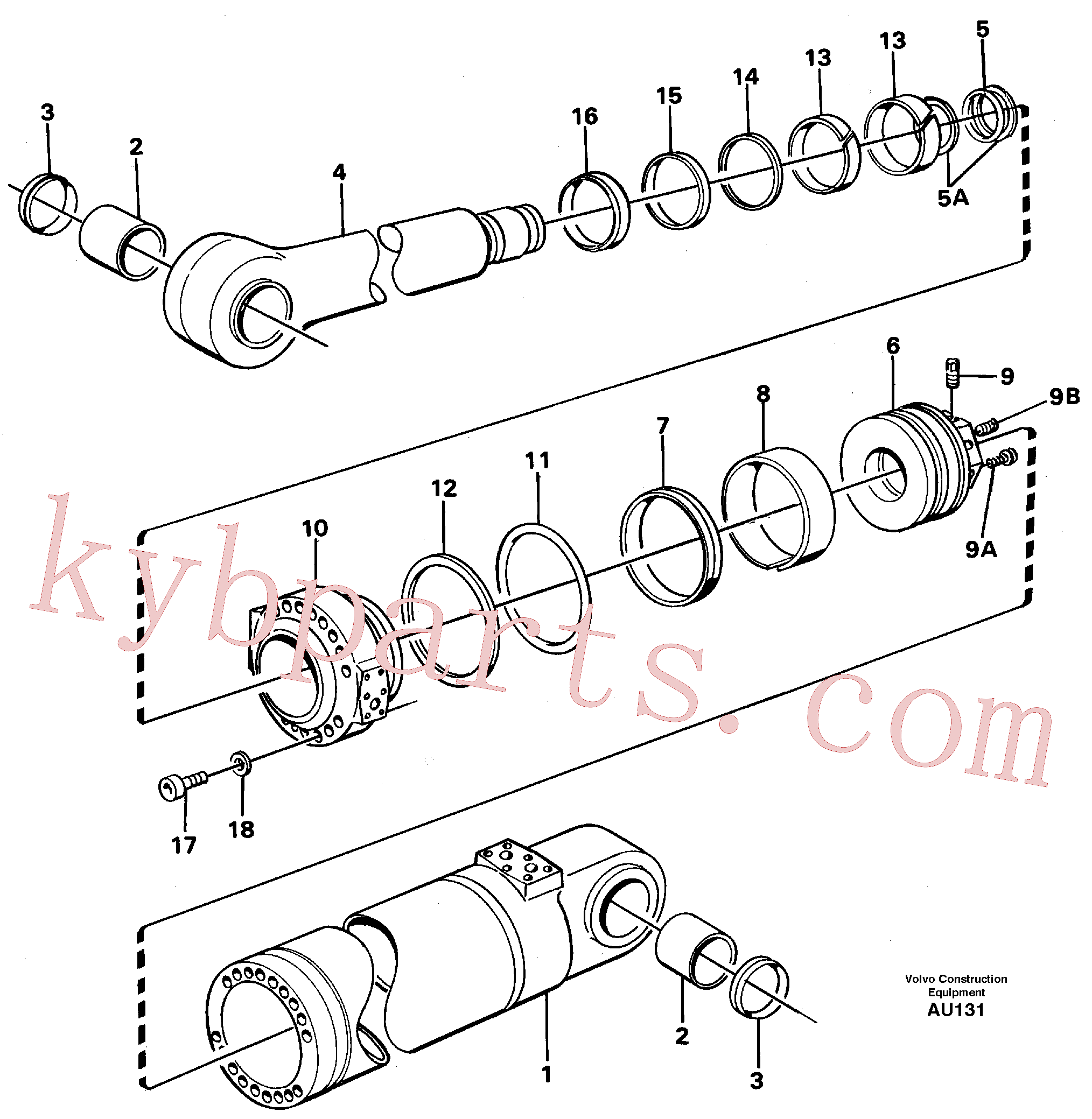 VOE11088496 for Volvo Hydraulic cylinder, tilt(AU131 assembly)