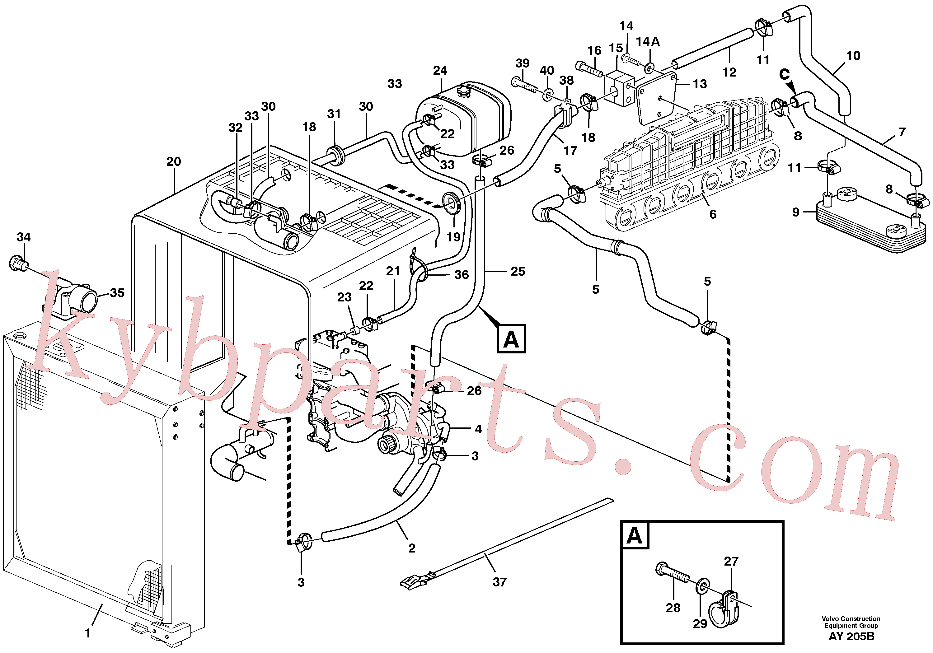 VOE6210502 for Volvo Cooling system(AY205B assembly)