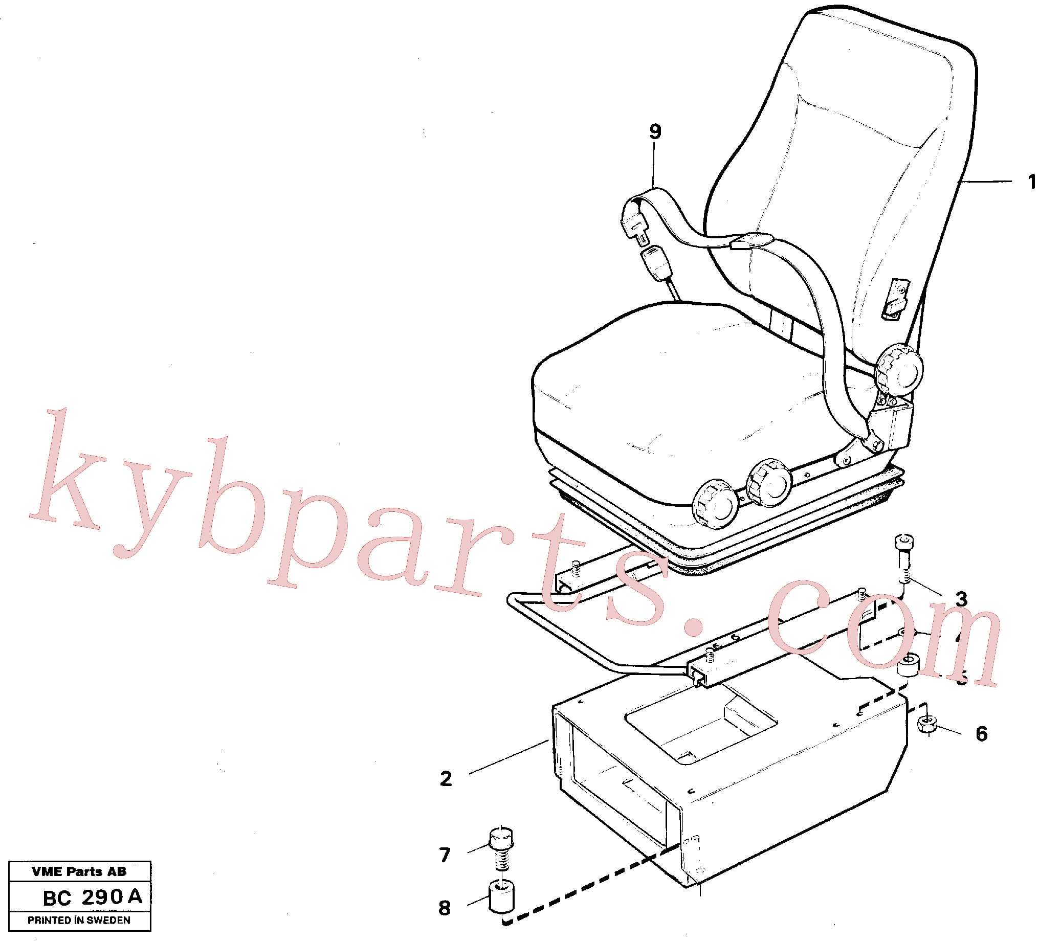 VOE13967630 for Volvo Operator seat with fitting parts(BC290A assembly)