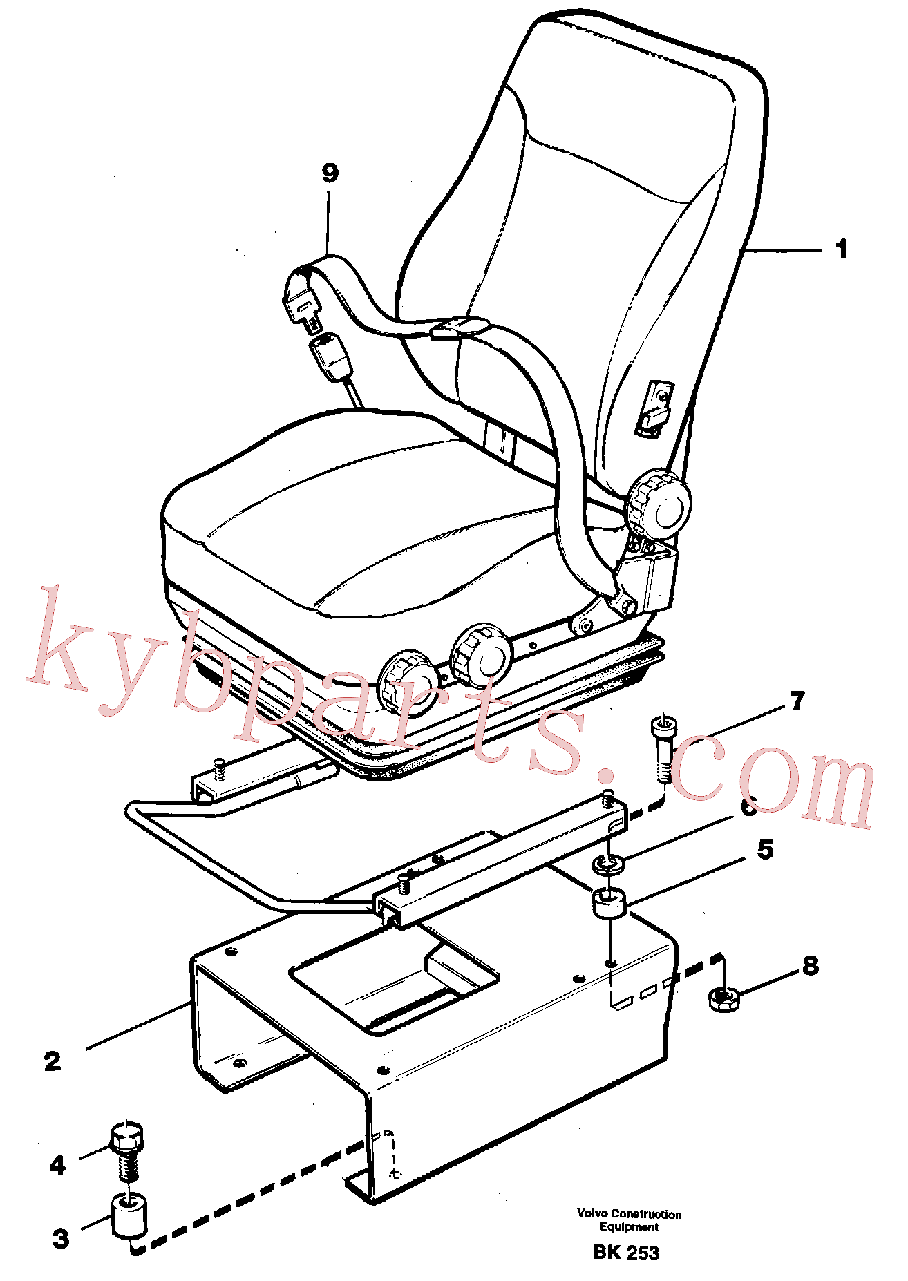 VOE11055612 for Volvo Operator seat with fitting parts(BK253 assembly)