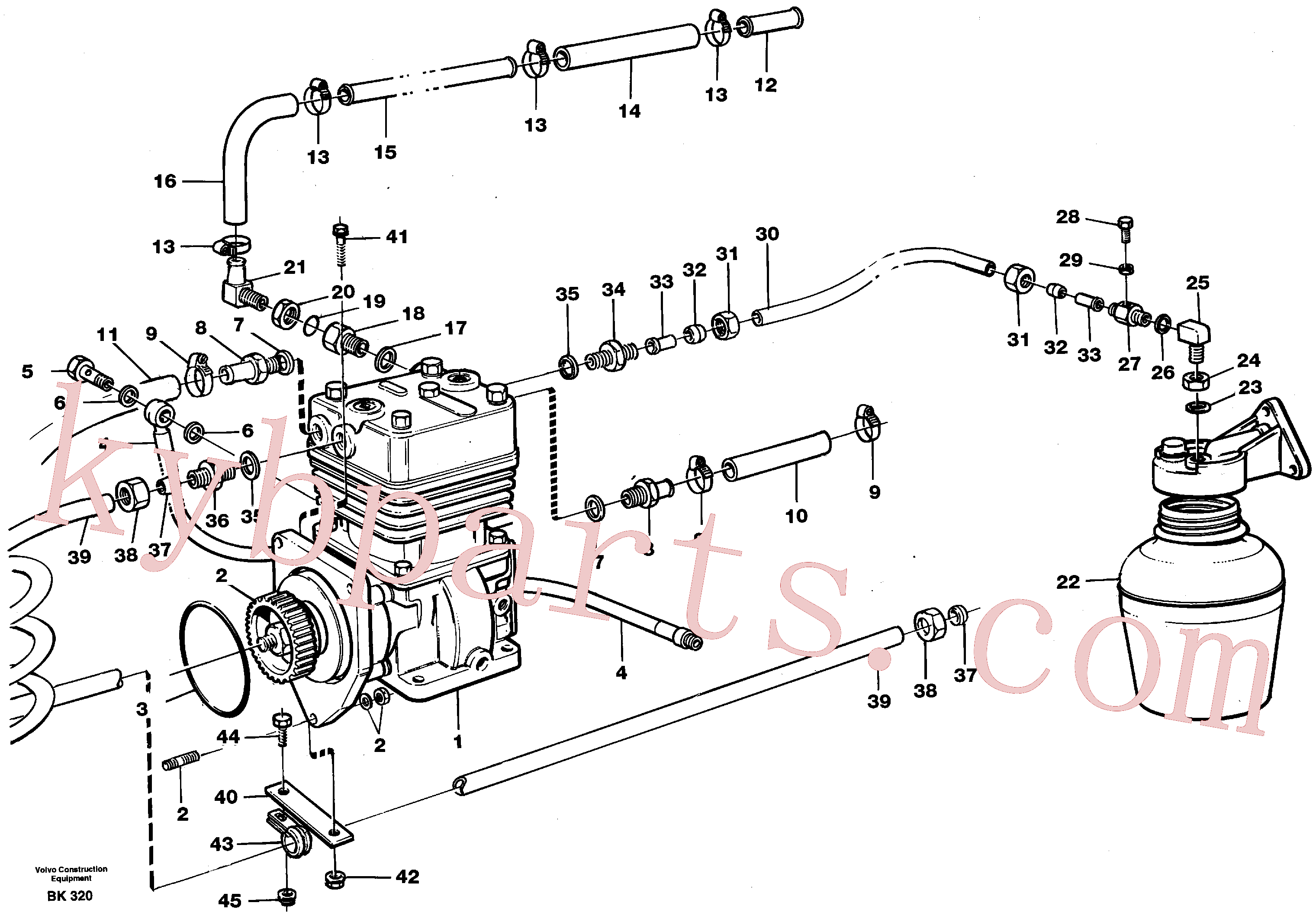 VOE945896 for Volvo Air-compressor with fitting parts(BK320 assembly)
