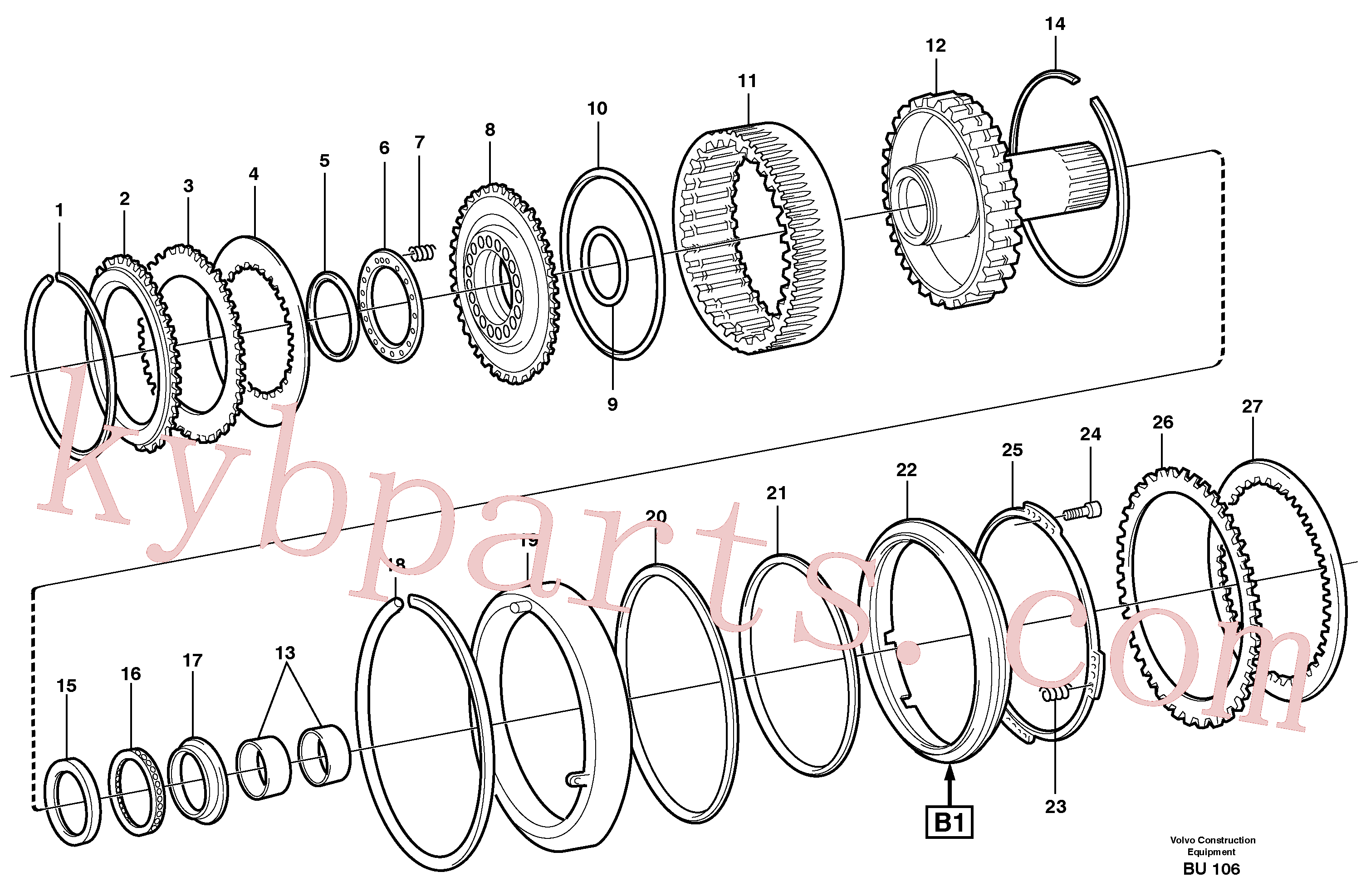 VOE11989805 for Volvo Clutch and brake(BU106 assembly)