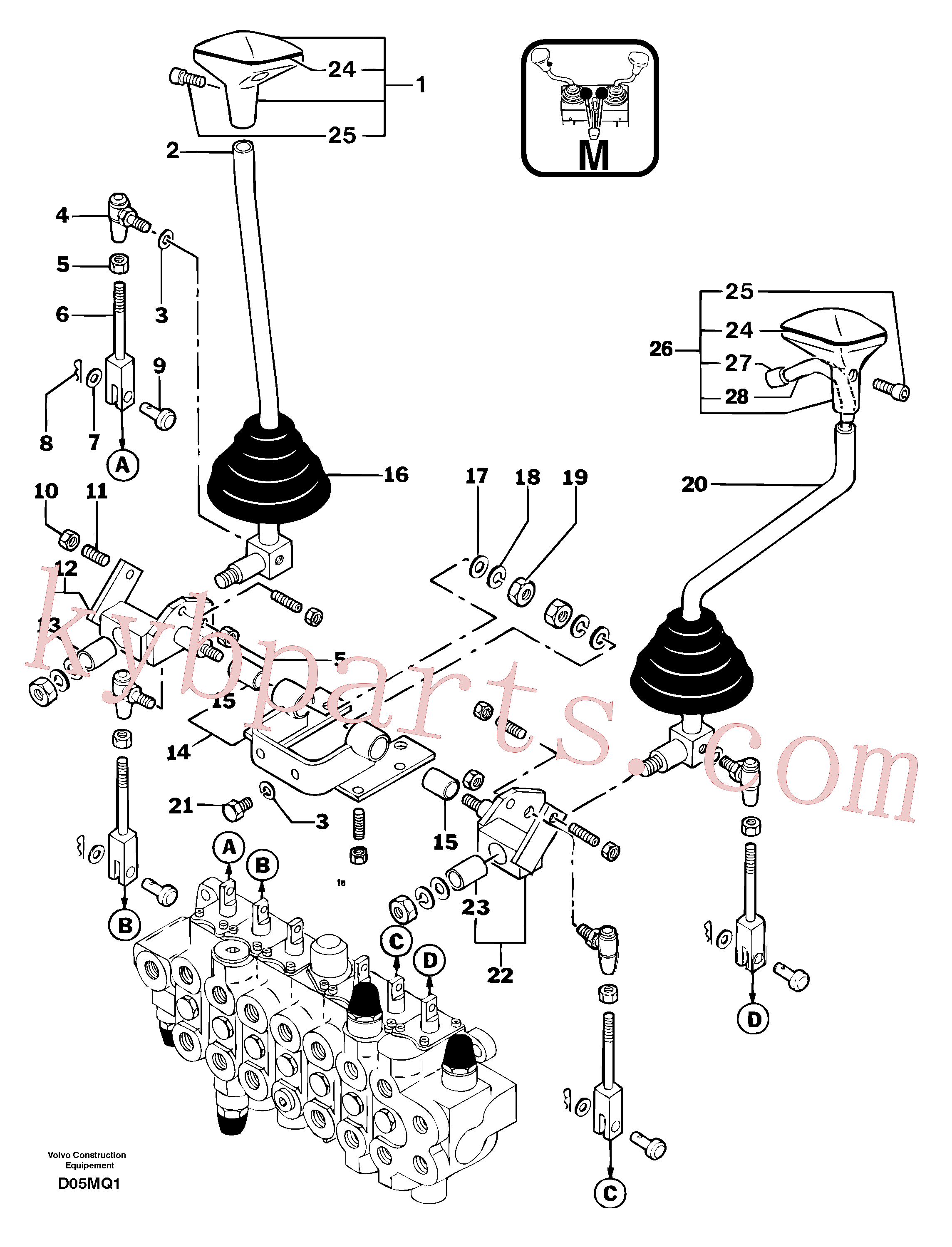 PJ7413004 for Volvo Control levers : boom/dipper arm/ bucket/ slewing(D05MQ1 assembly)