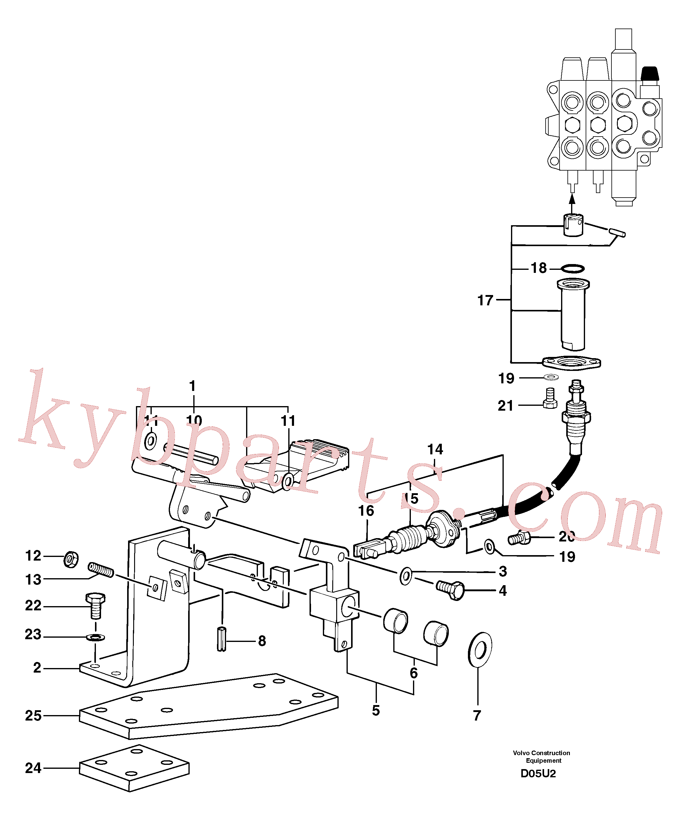 PJ7412468 for Volvo Control pedal : hand-operated accessories - 58 l/m(D05U2 assembly)