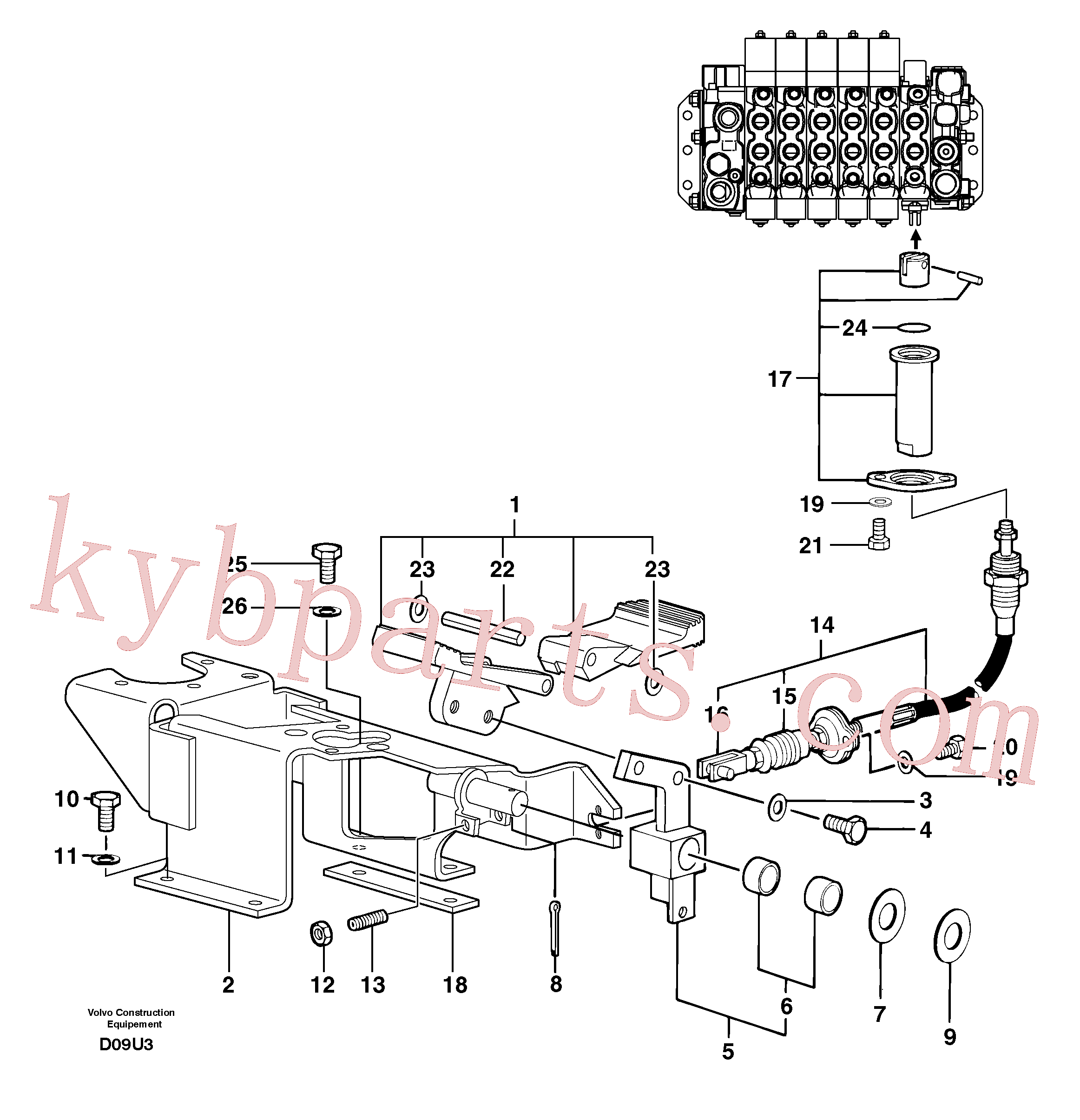 PJ7412468 for Volvo Control pedal : accessories on attachment - 90 l/m(D09U3 assembly)