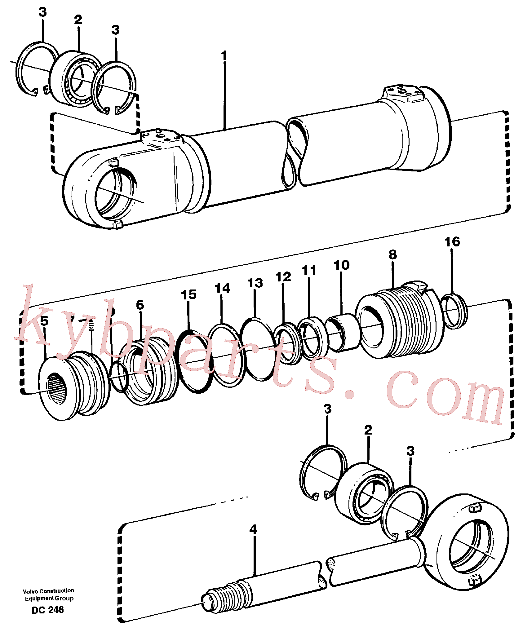VOE11704127 for Volvo Hydraulic cylinder(DC248 assembly)