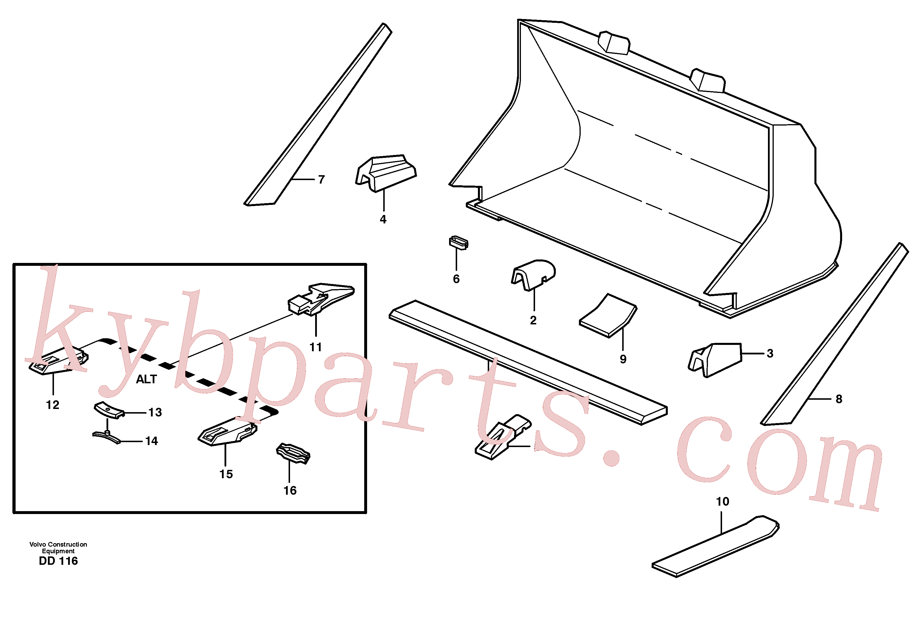 VOE4780569 for Volvo Bucket, straight with teeth(DD116 assembly)