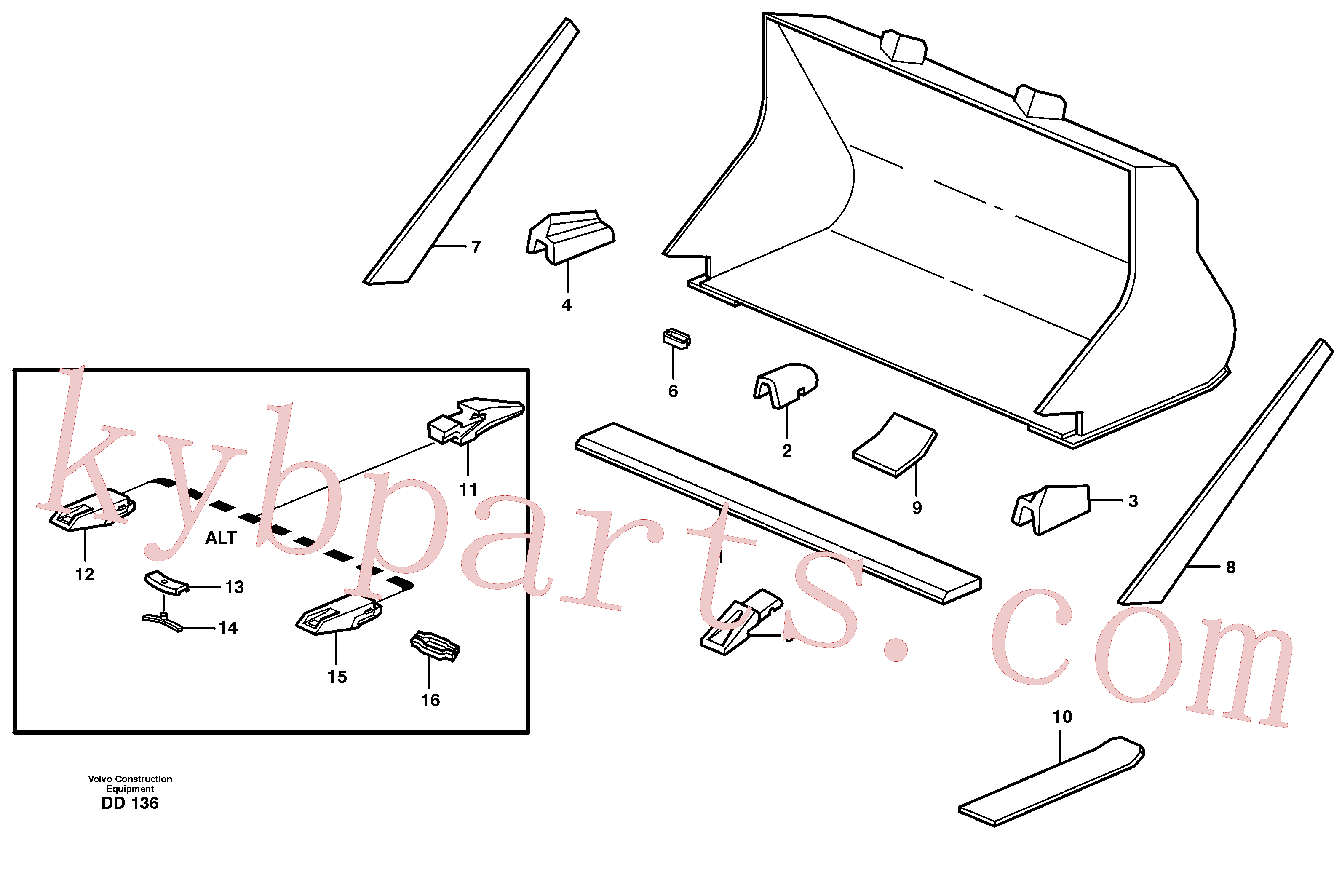 VOE4780569 for Volvo Bucket, straight with teeth(DD136 assembly)