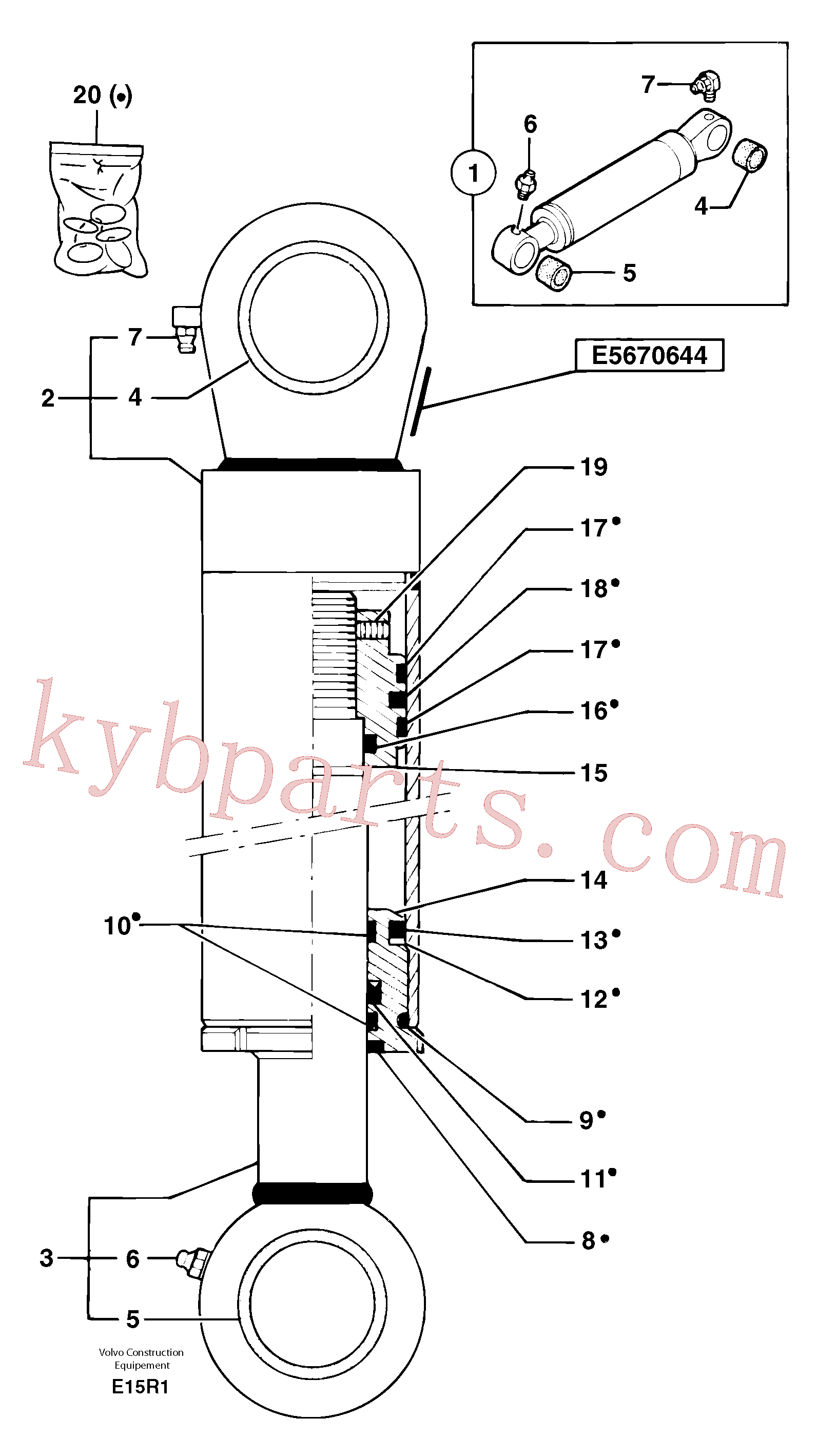 PJ5670644 for Volvo Bucket cylinder(E15R1 assembly)