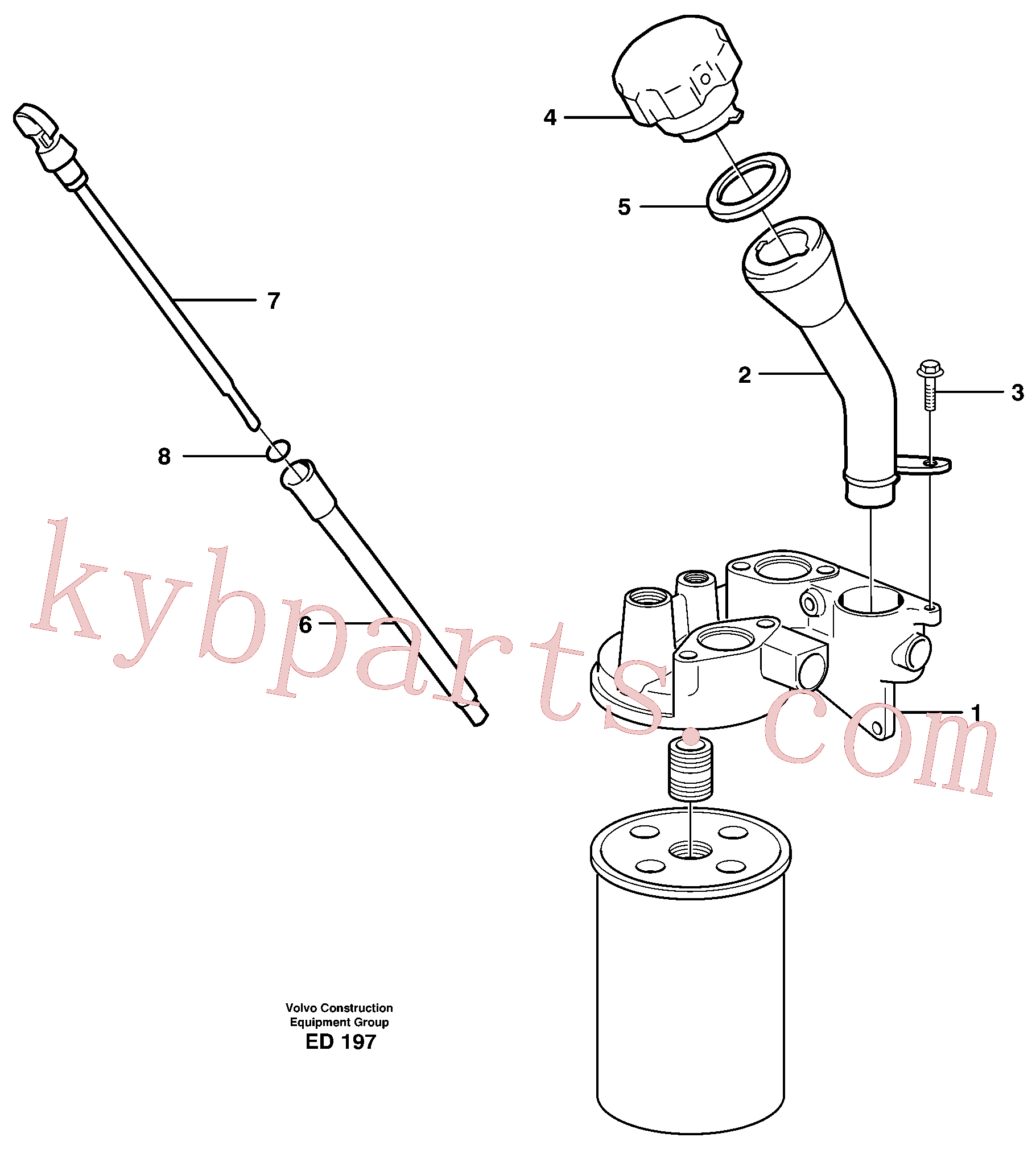 VOE3547599 for Volvo Oil filler and dipstick(ED197 assembly)