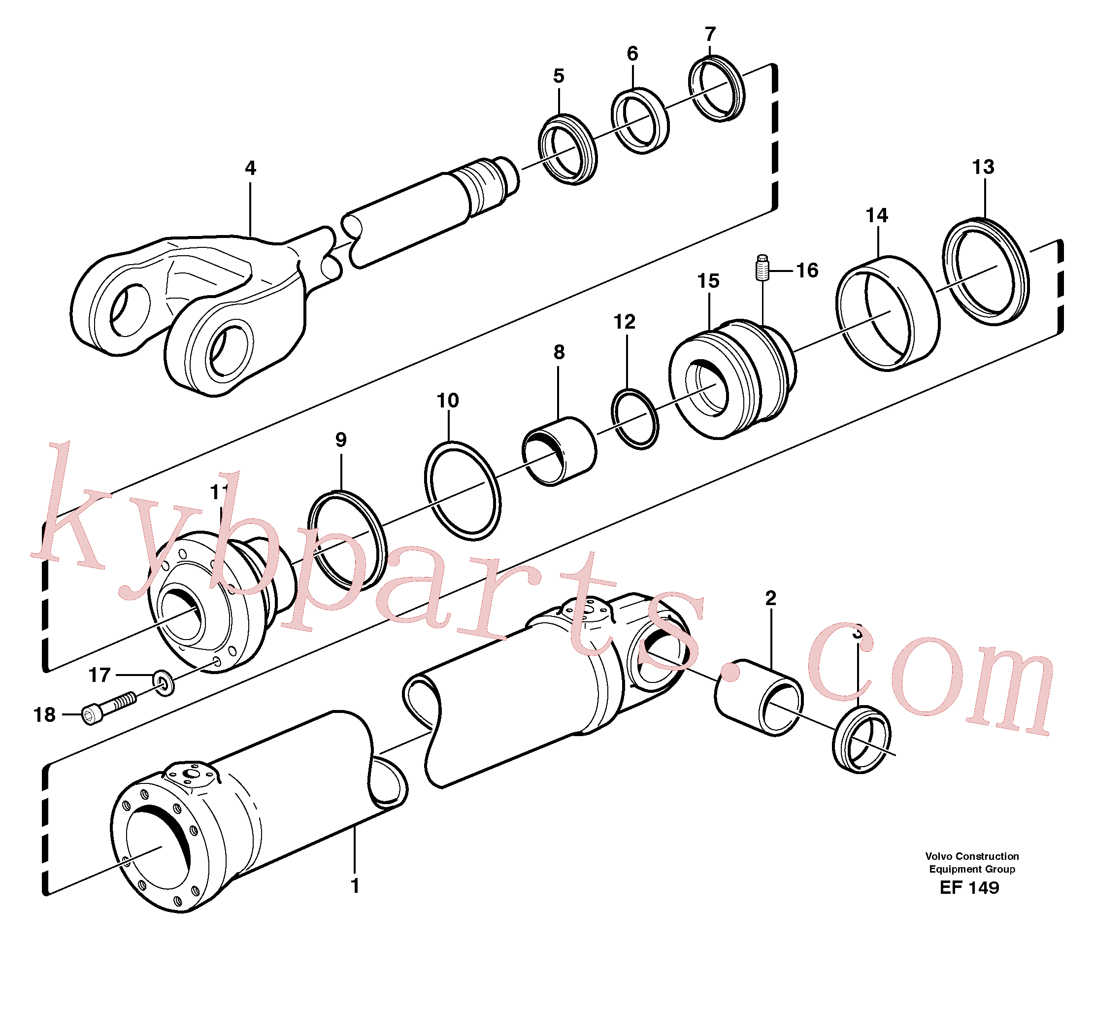 VOE11005464 for Volvo Hydraulic cylinder, lifting(EF149 assembly)