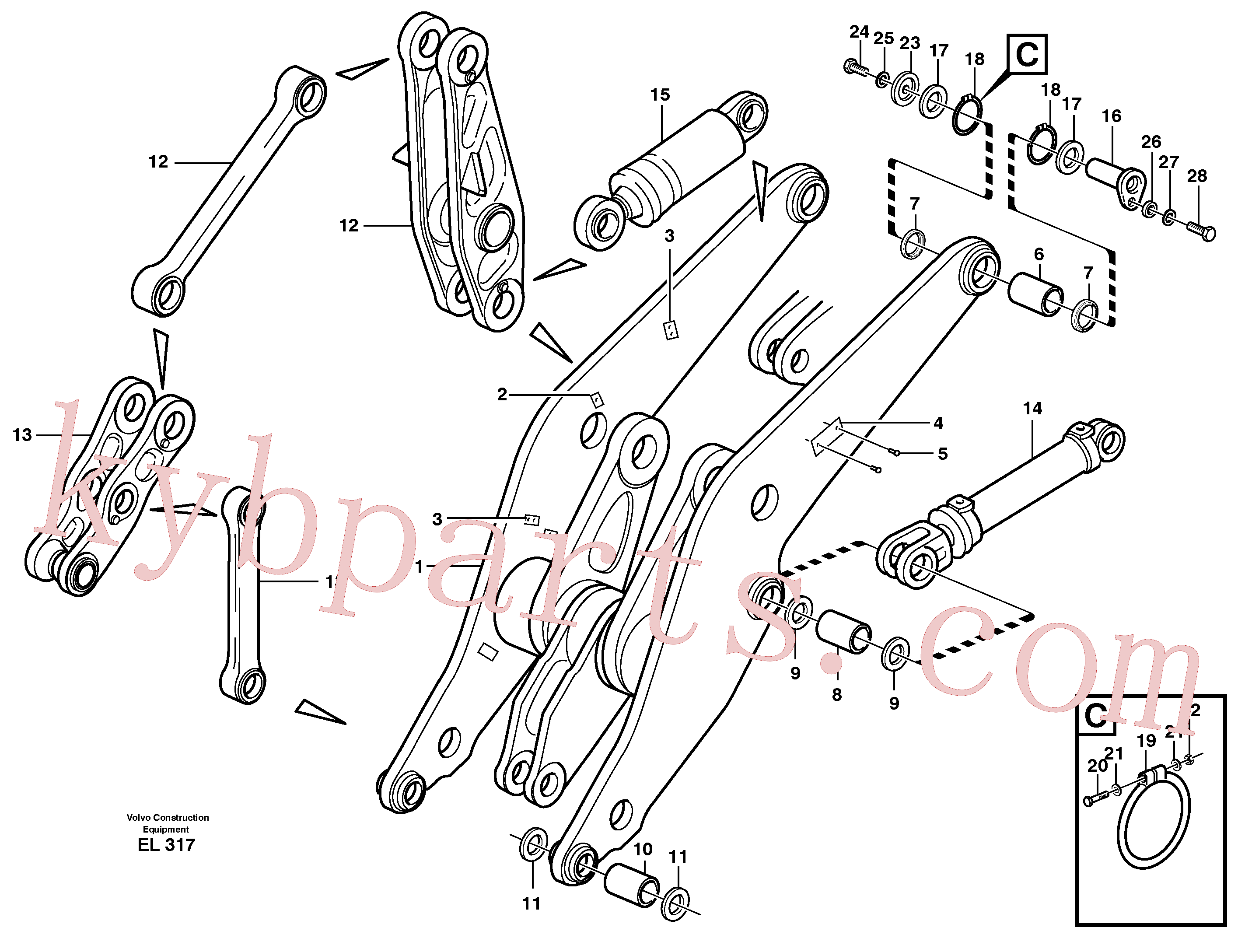 VOE11075281 for Volvo Lifting frame work with assembly parts, Lifting framework with assembly parts(EL317 assembly)
