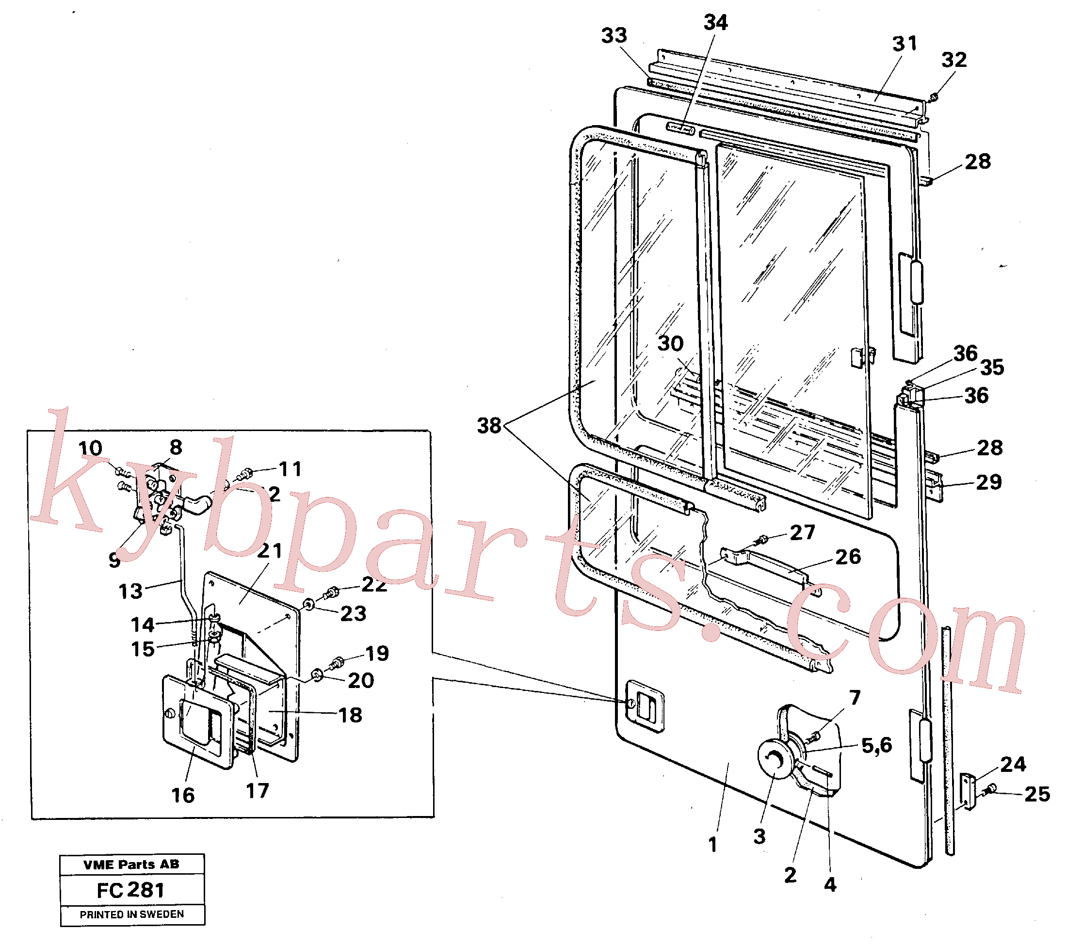 VOE959187 for Volvo Door,drivers cab(FC281 assembly)