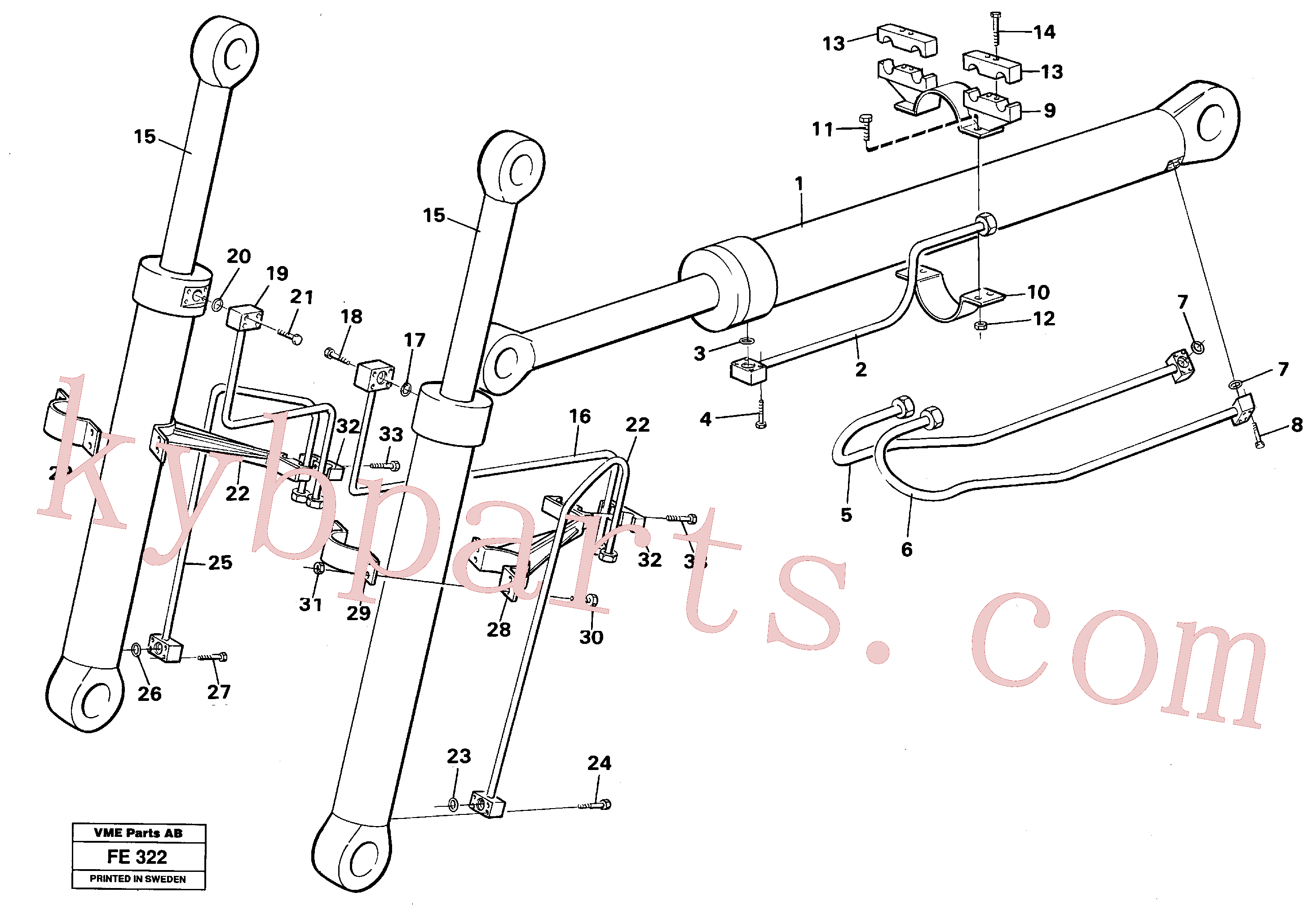 VOE14054945 for Volvo Hydraulic system, cylinder, front shovel equipment(FE322 assembly)