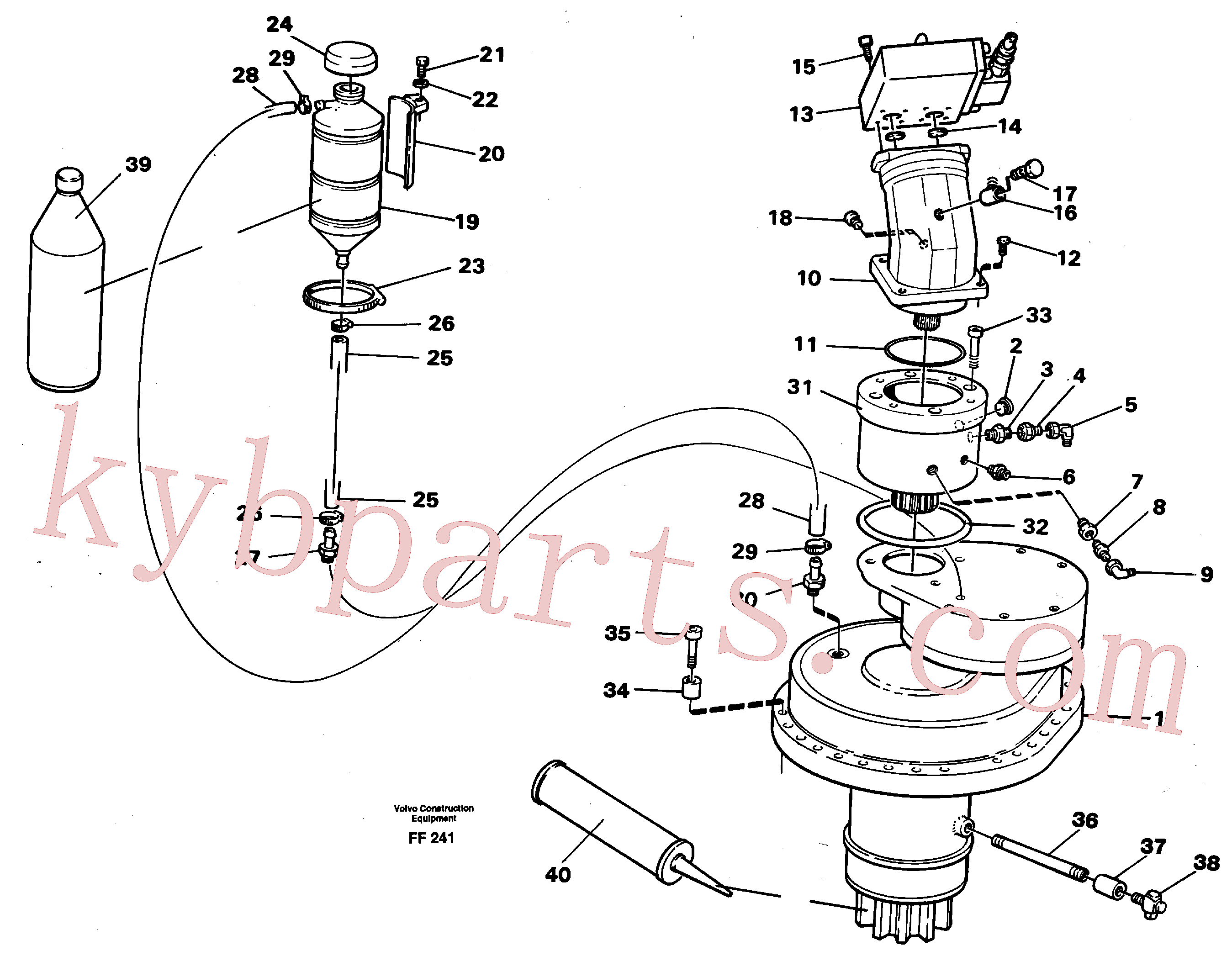 VOE14252875 for Volvo Slewing gear box with fitting parts(FF241 assembly)