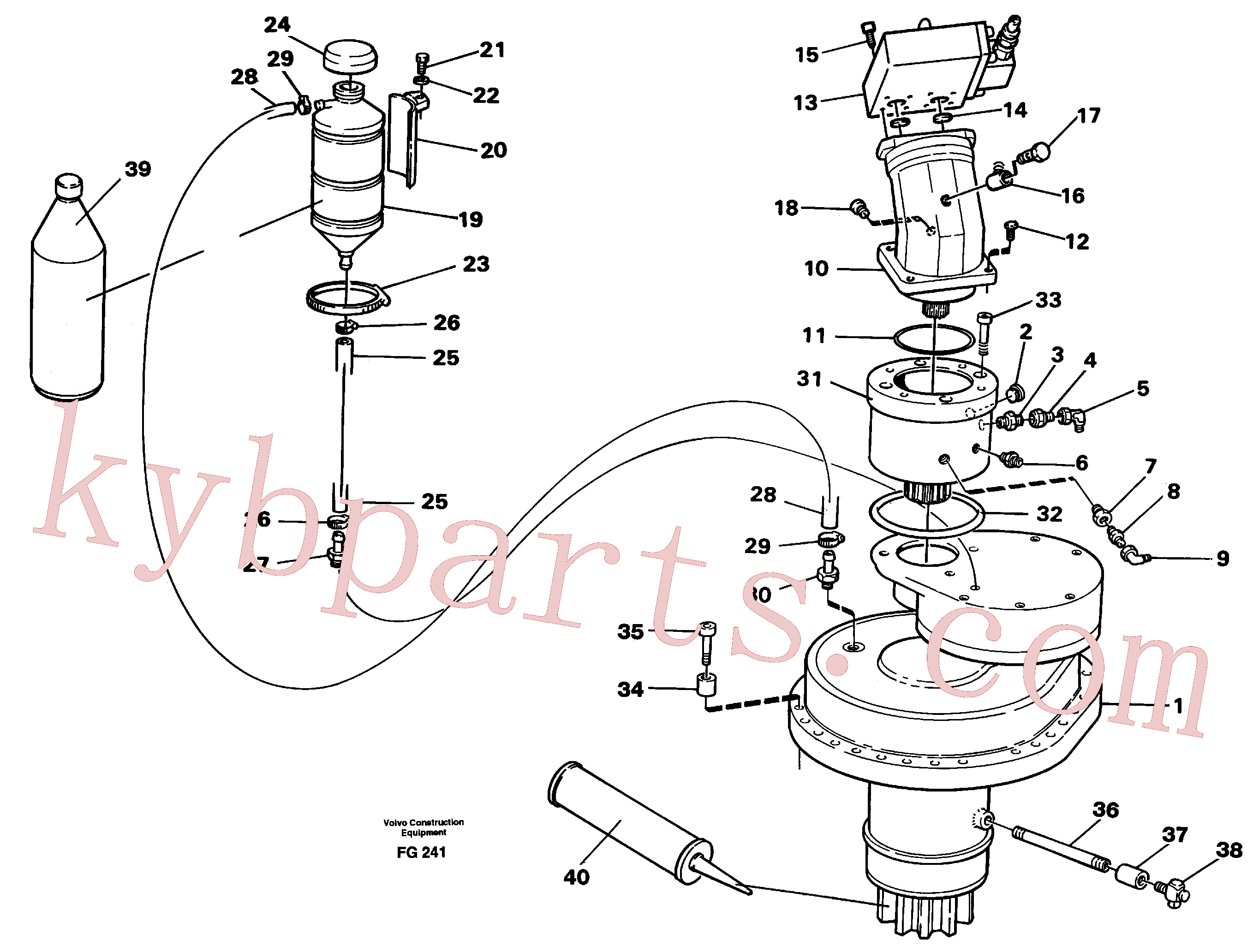 VOE14252875 for Volvo Slewing gear box with fitting parts(FG241 assembly)