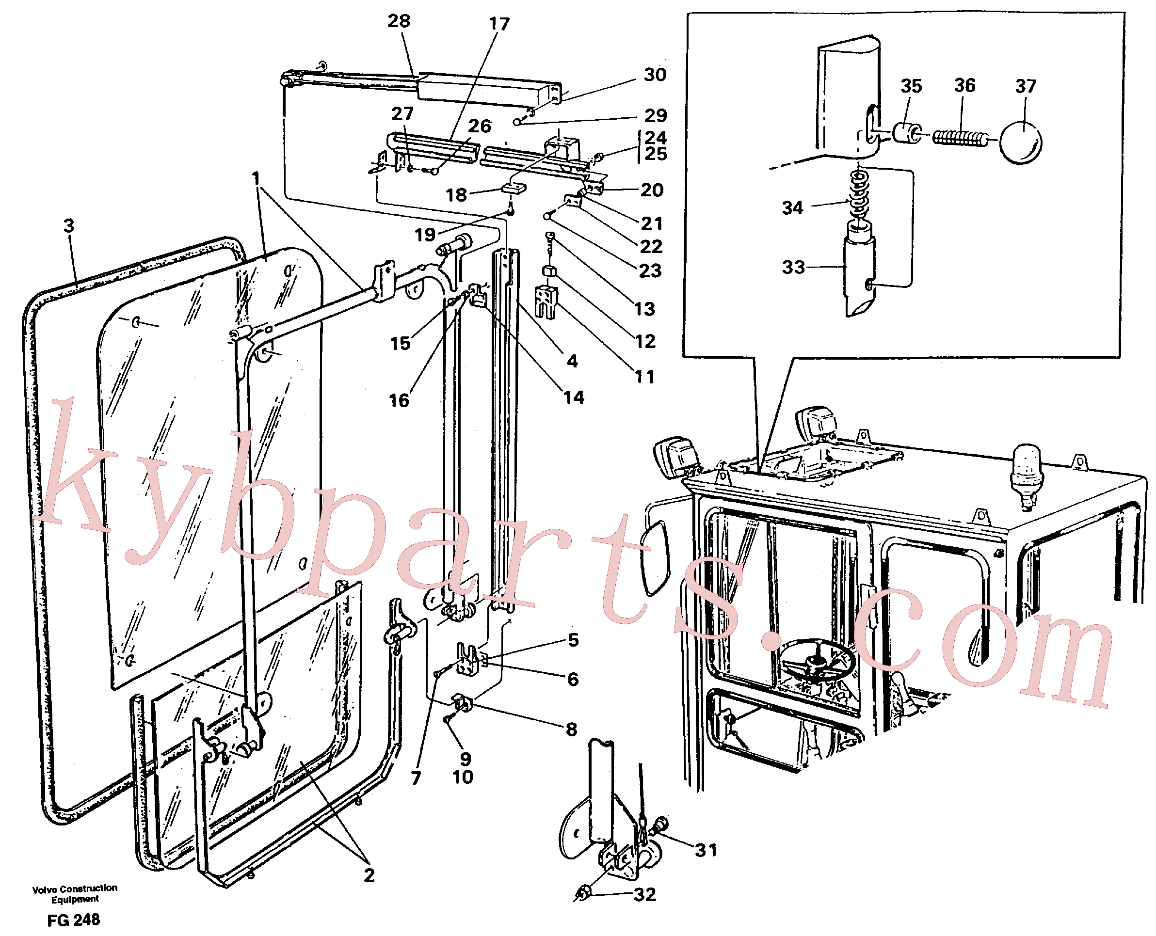 VOE959187 for Volvo Front window, Lifting device(FG248 assembly)