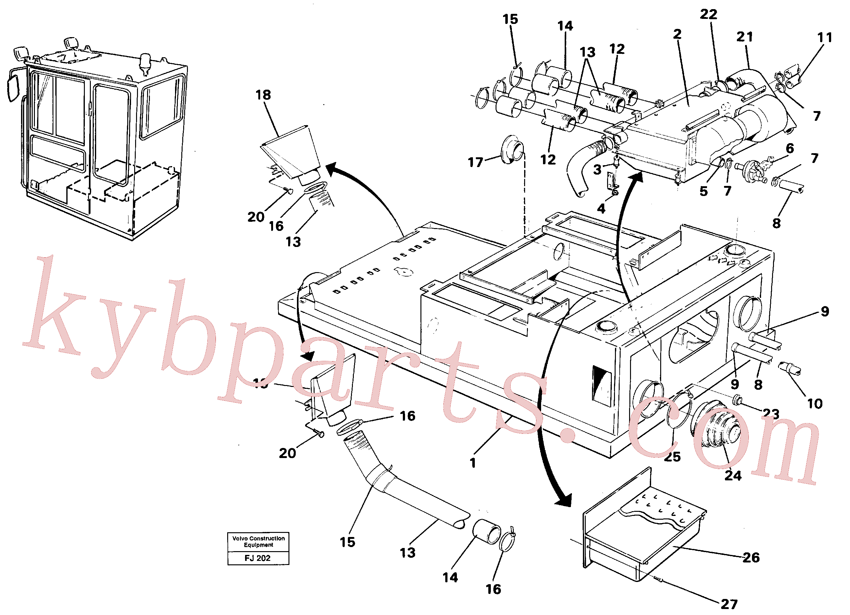 VOE14058256 for Volvo Cab heater with fitting parts(FJ202 assembly)