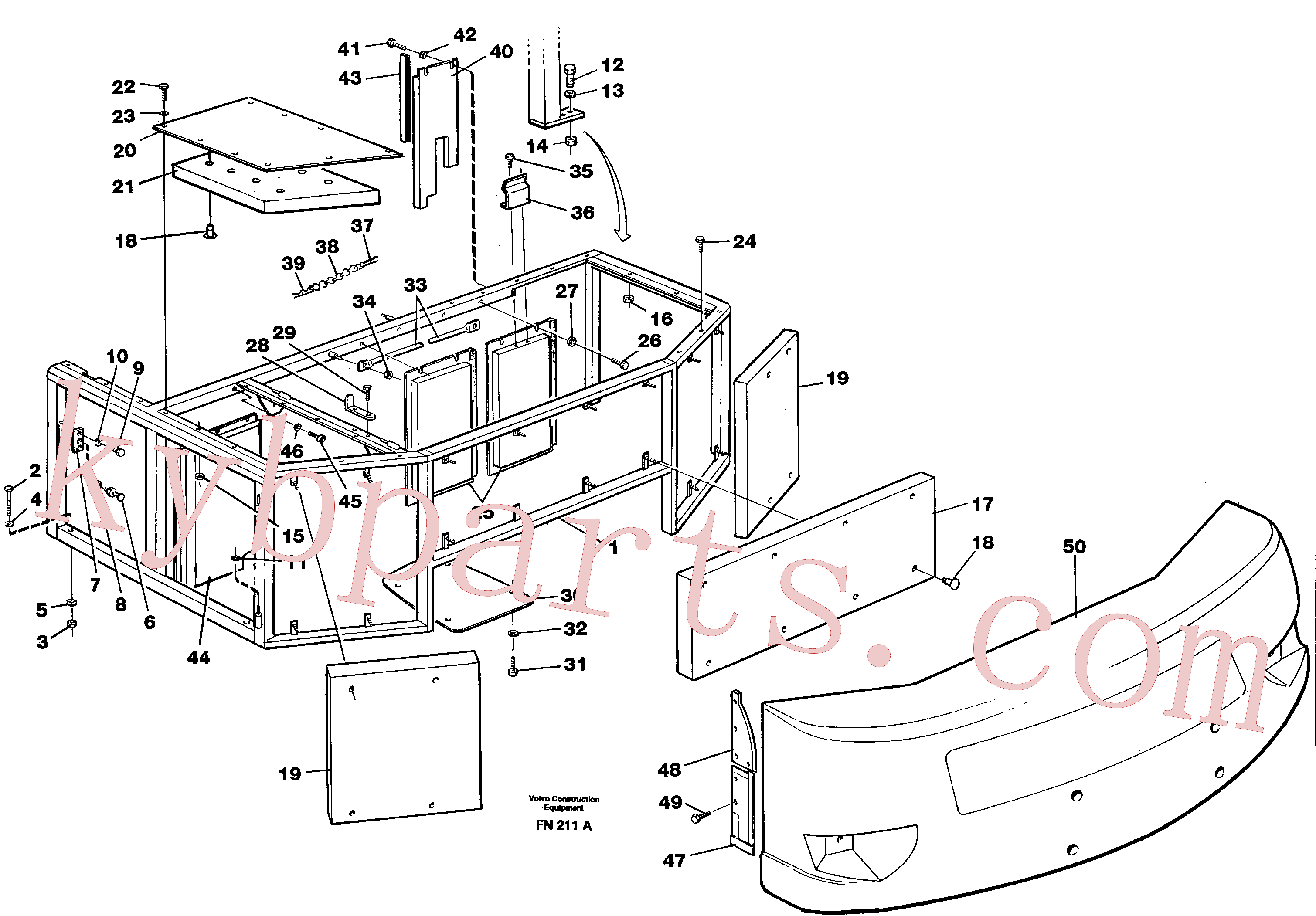 VOE4880191 for Volvo Support, cover plates, rear(FN211A assembly)