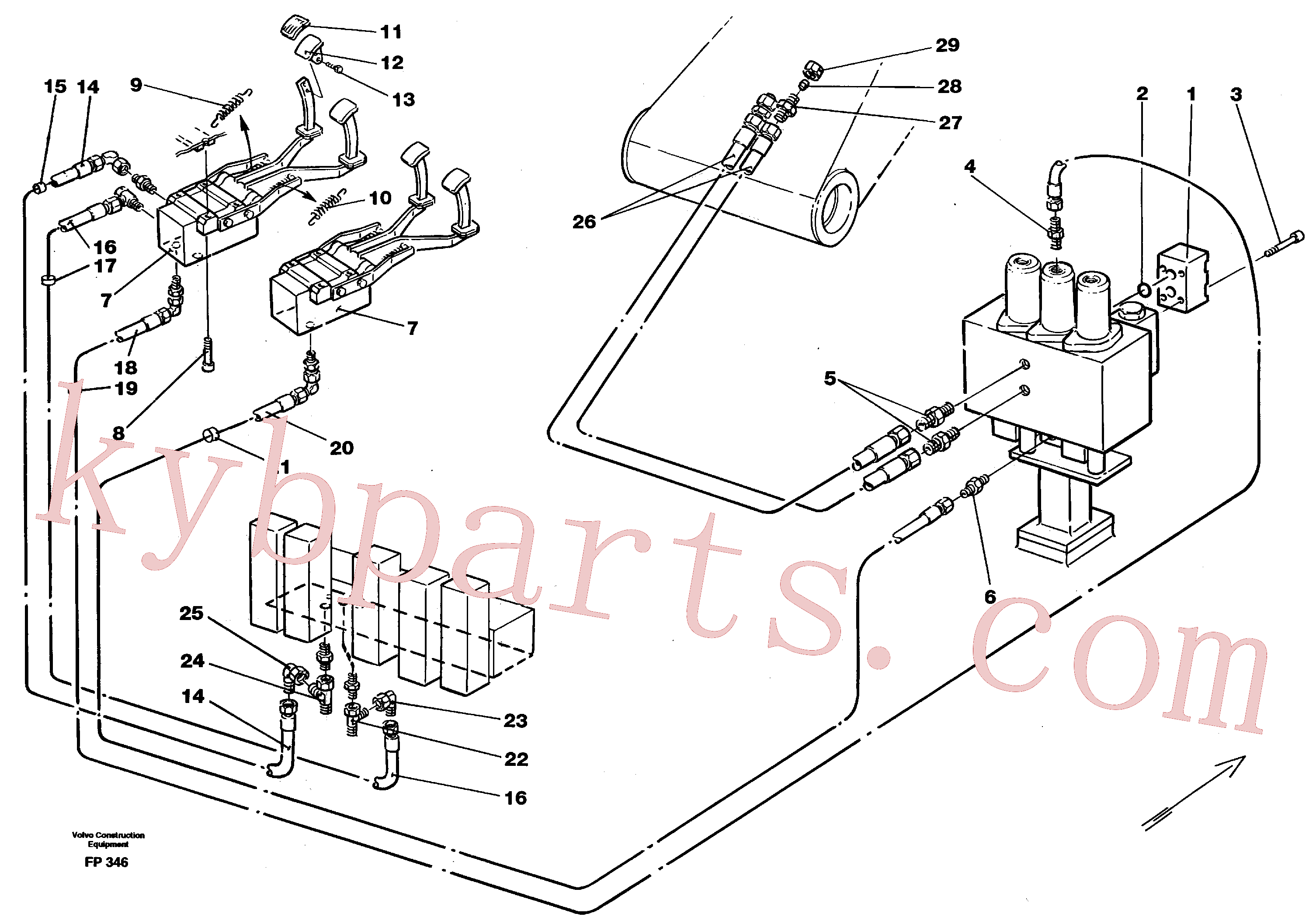 VOE14211900 for Volvo Slope bucket/rotating grab hydraulics in base machine(FP346 assembly)