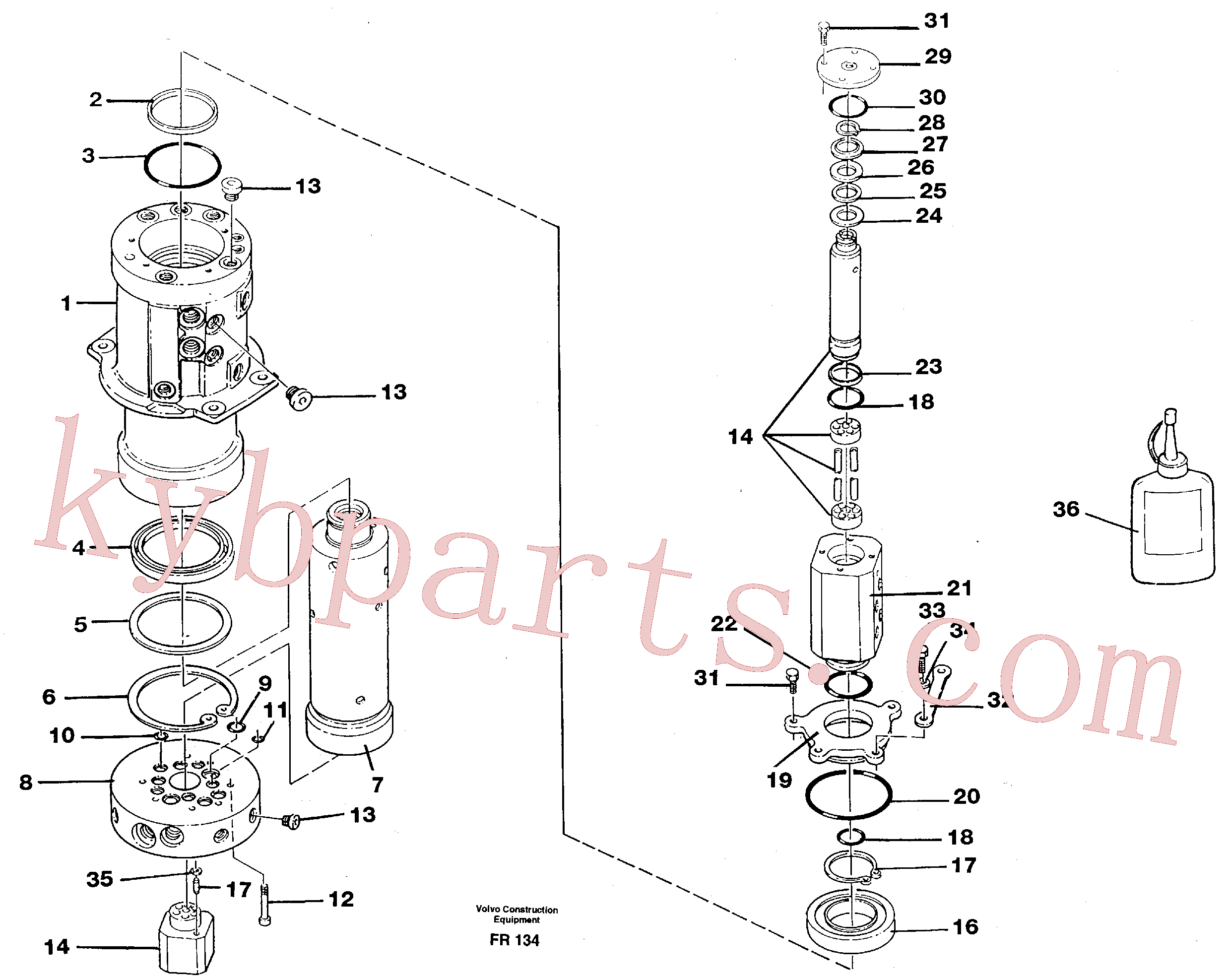 VOE959229 for Volvo Turning joint(FR134 assembly)