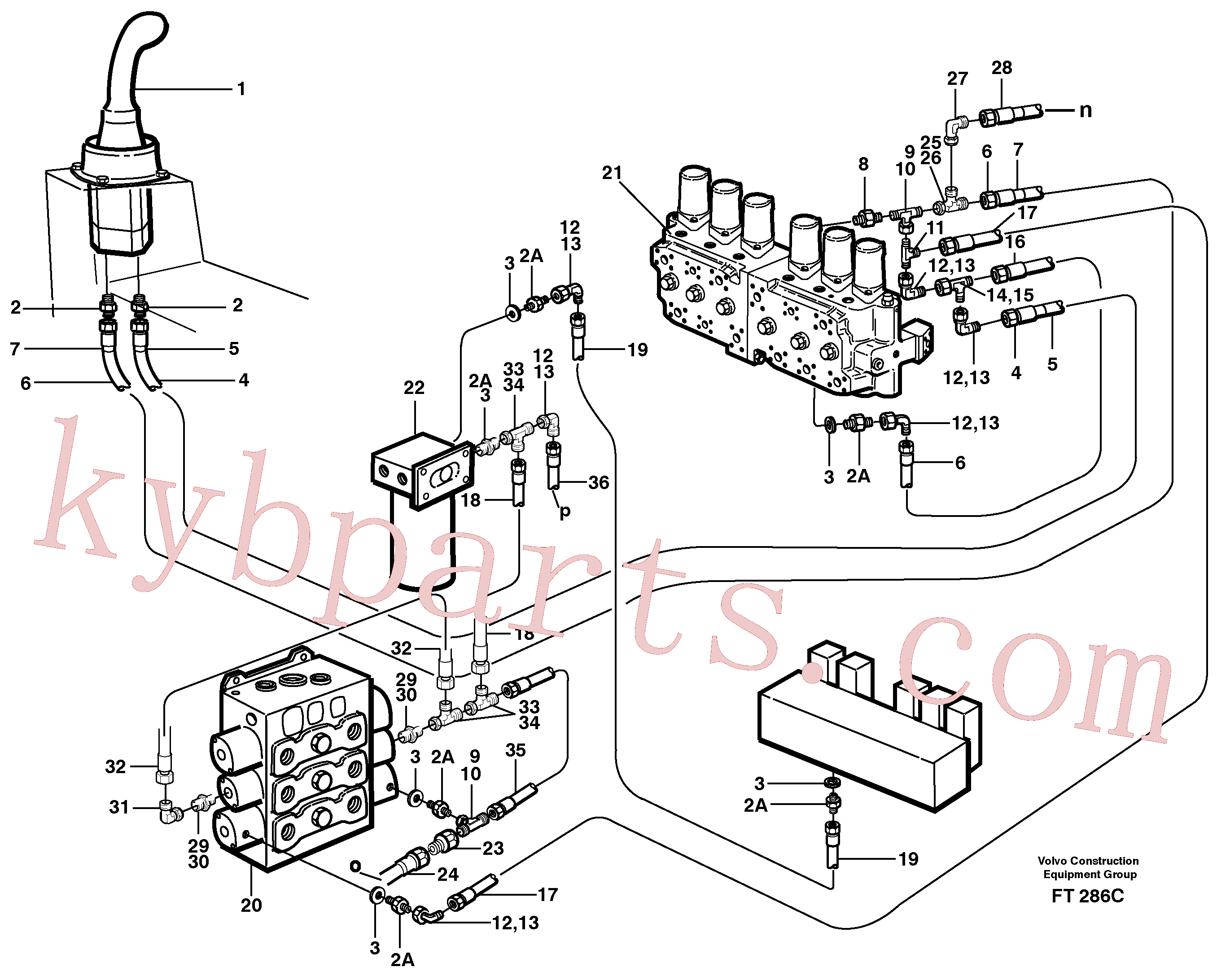 VOE14265420 for Volvo Servo hydraulics, bucket(FT286C assembly)