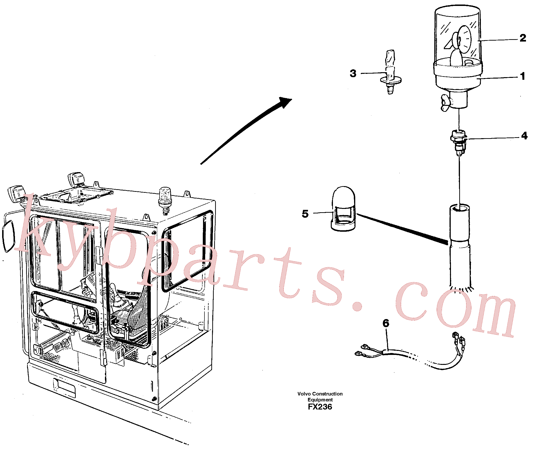 VOE11708266 for Volvo Rotating beacon(FX236 assembly)