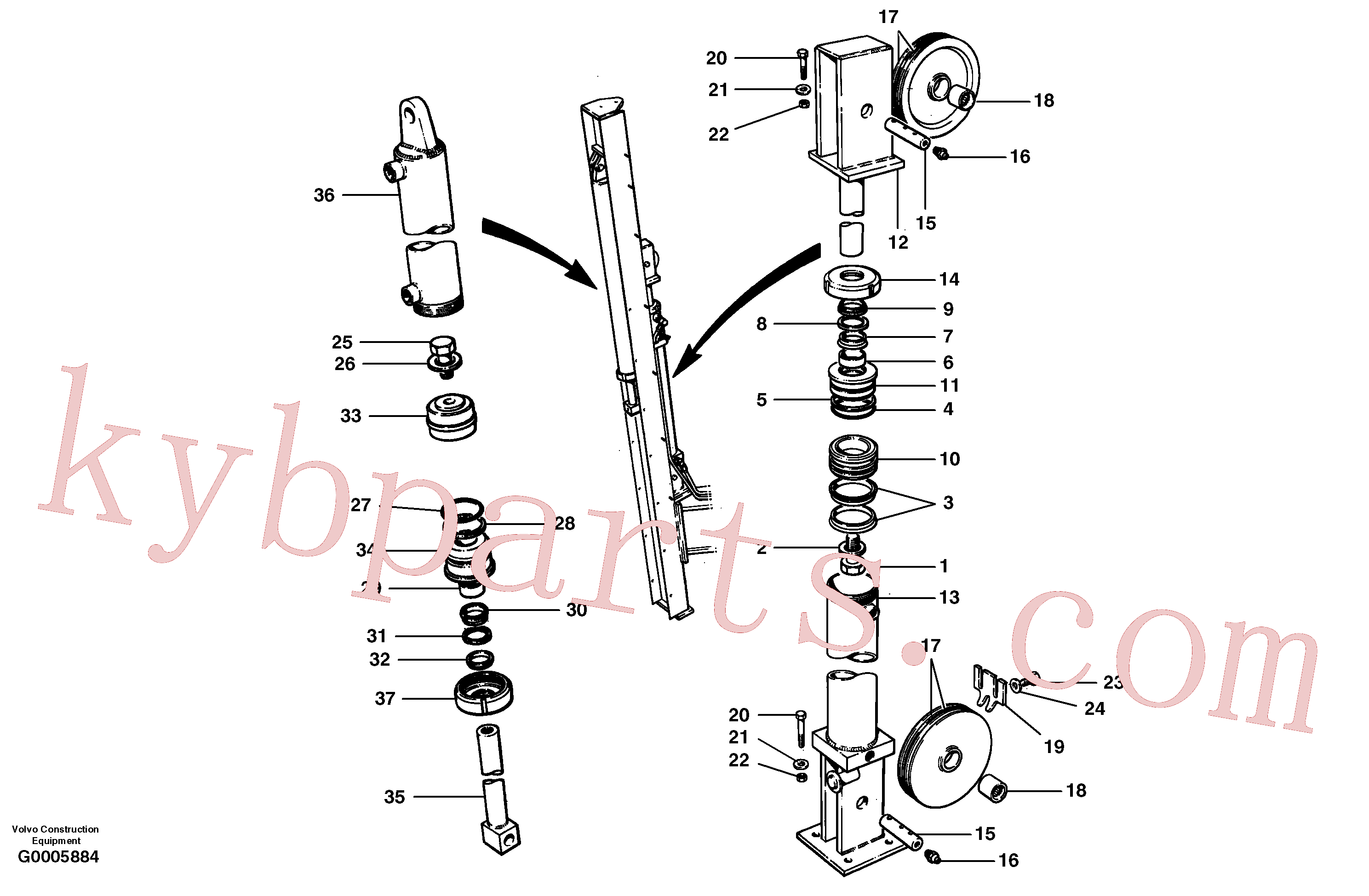 CH97828 for Volvo Wing cylinders - rear mast - cable wing(G0005884 assembly)