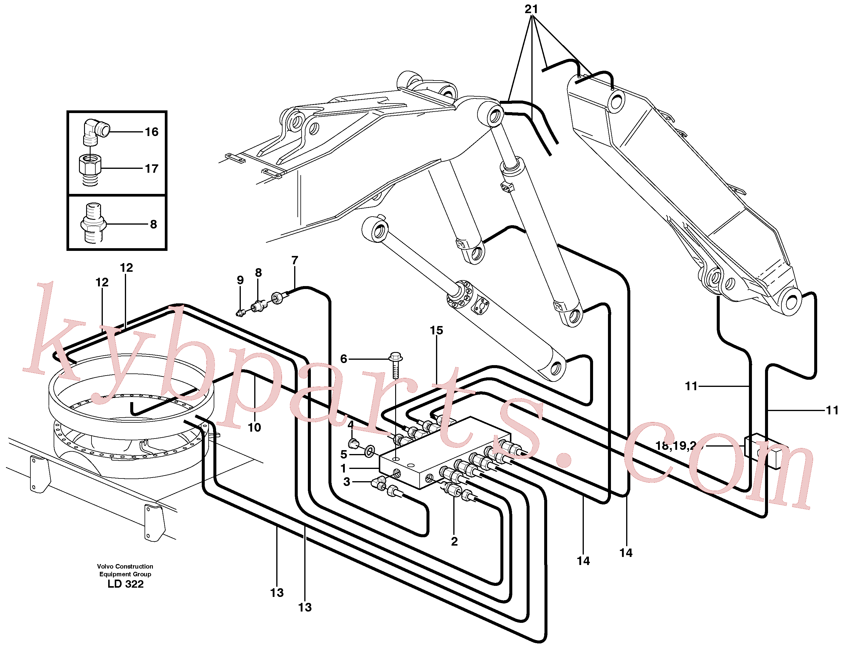 VOE14370351 for Volvo Central lubrication. slewing, adjustable boom(LD322 assembly)