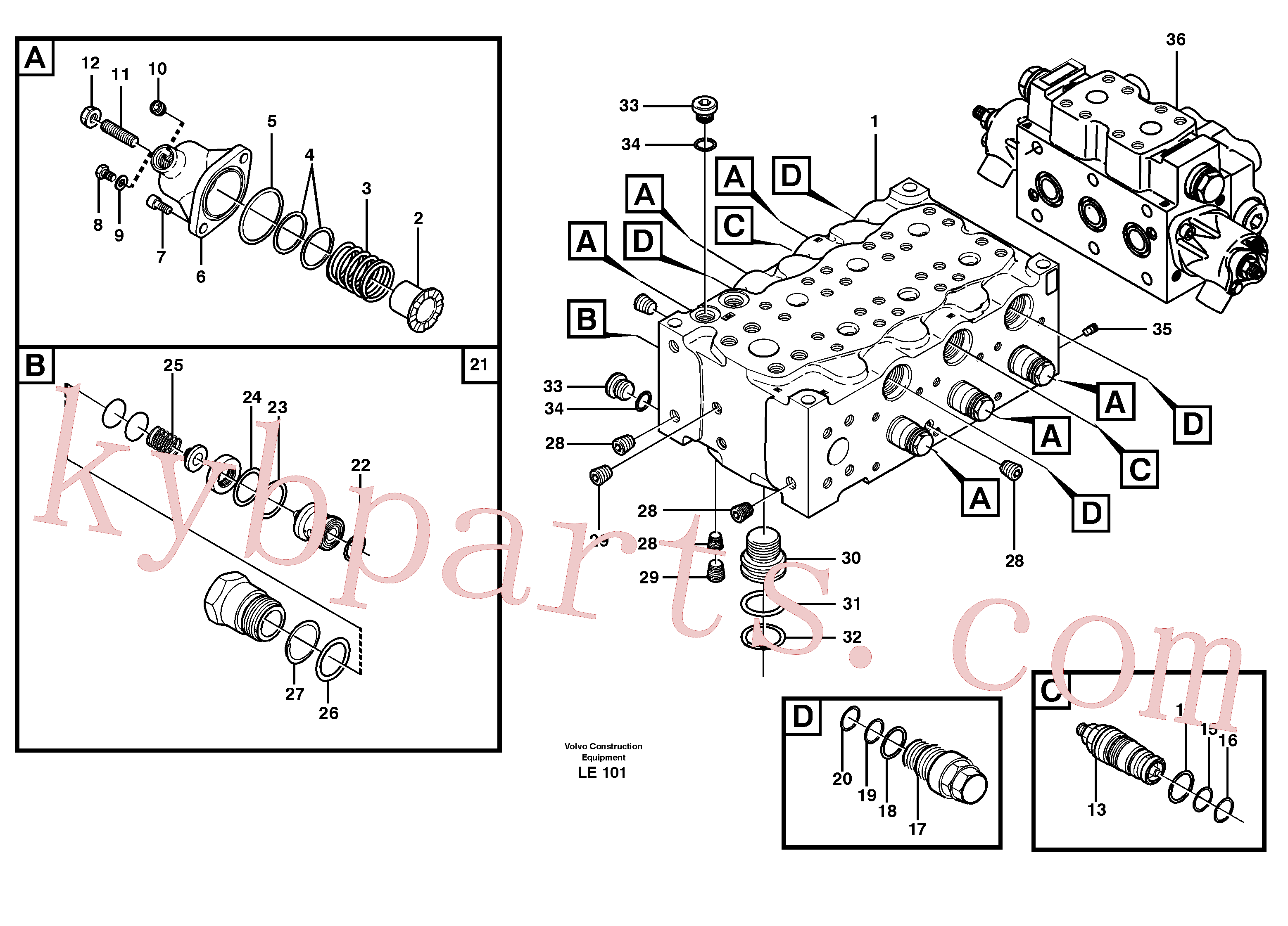 VOE11704892 for Volvo Main valve assembly, B(LE101 assembly)
