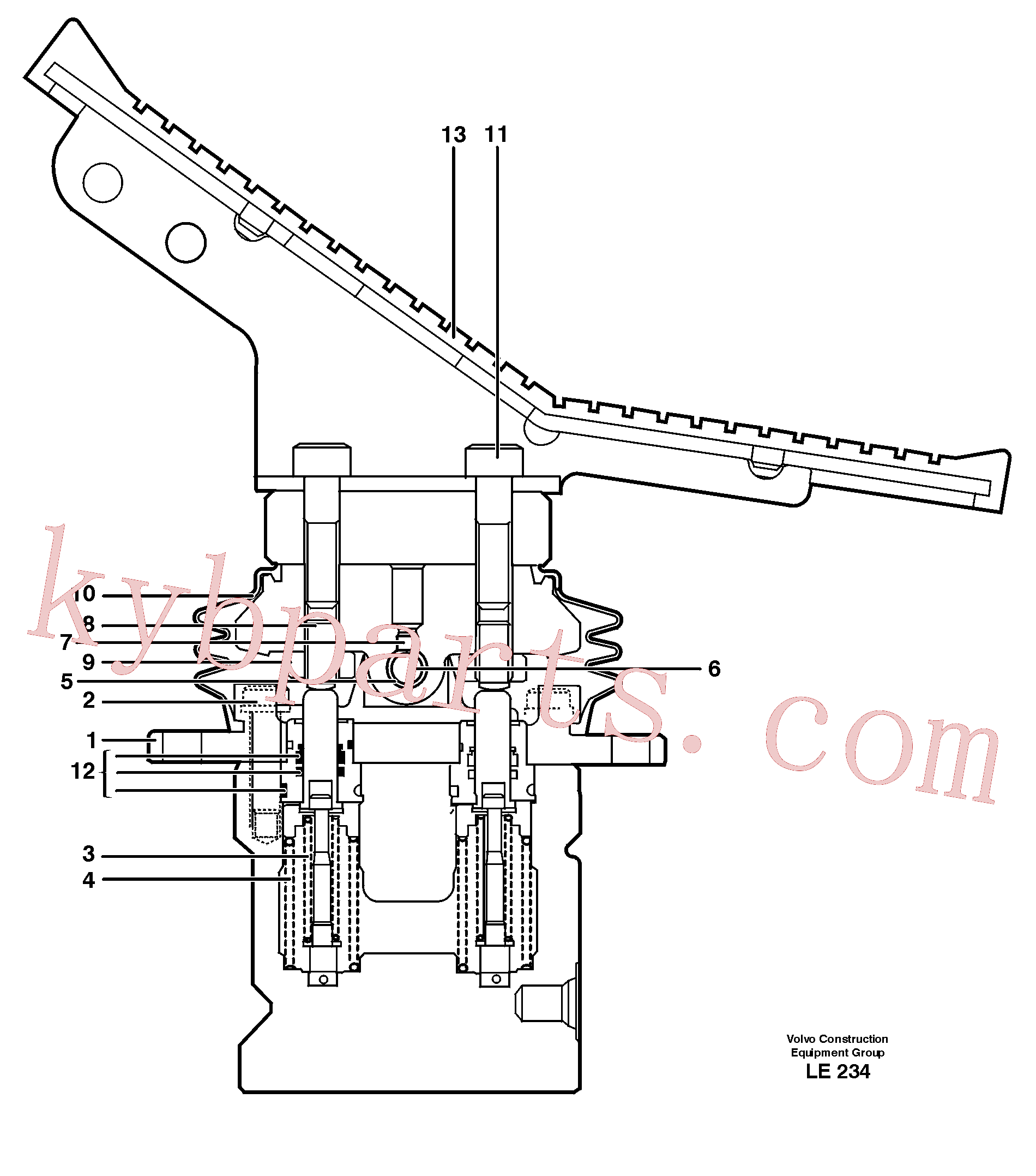 VOE11705998 for Volvo Pedal valve(LE234 assembly)