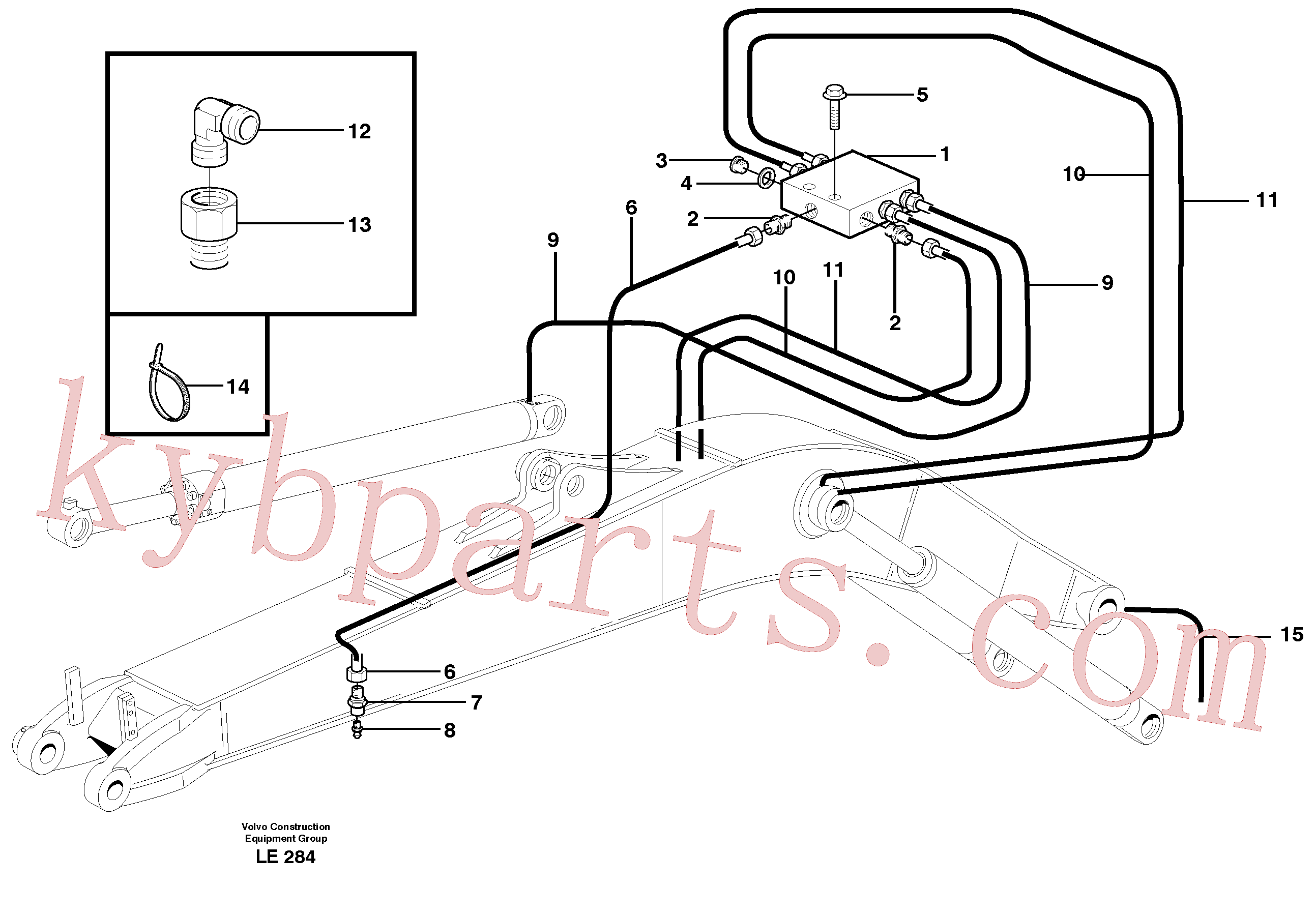 VOE14370347 for Volvo Central lubrication, mono boom(LE284 assembly)
