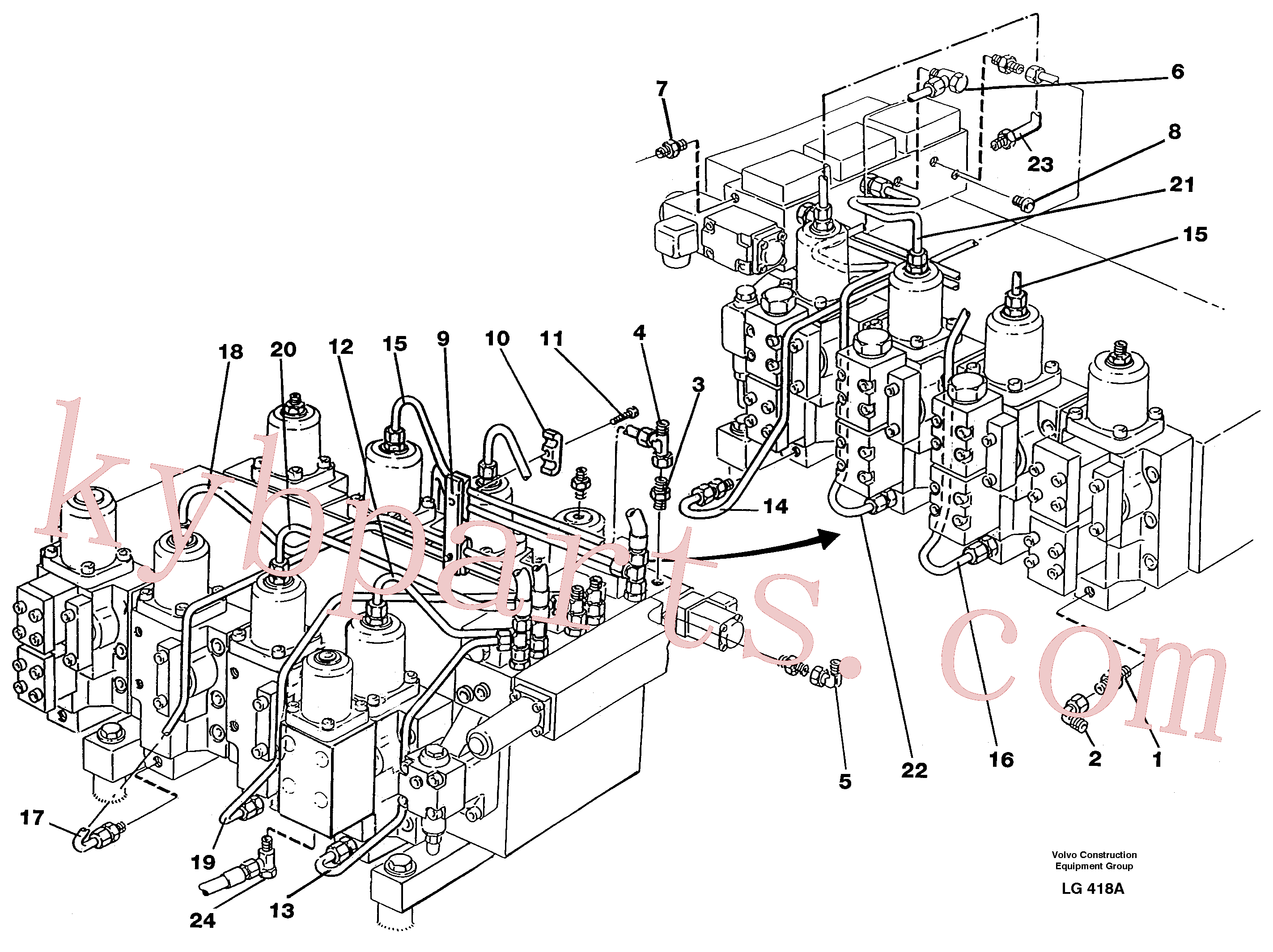 VOE14014592 for Volvo Main valve assembly, tubes connections(LG418A assembly)