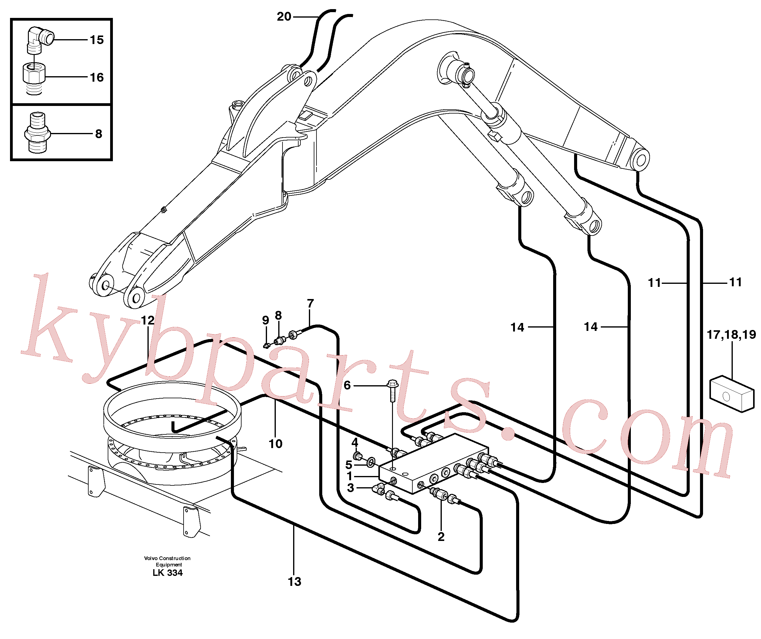 VOE14370351 for Volvo Central lubrication, slewing, offset(LK334 assembly)