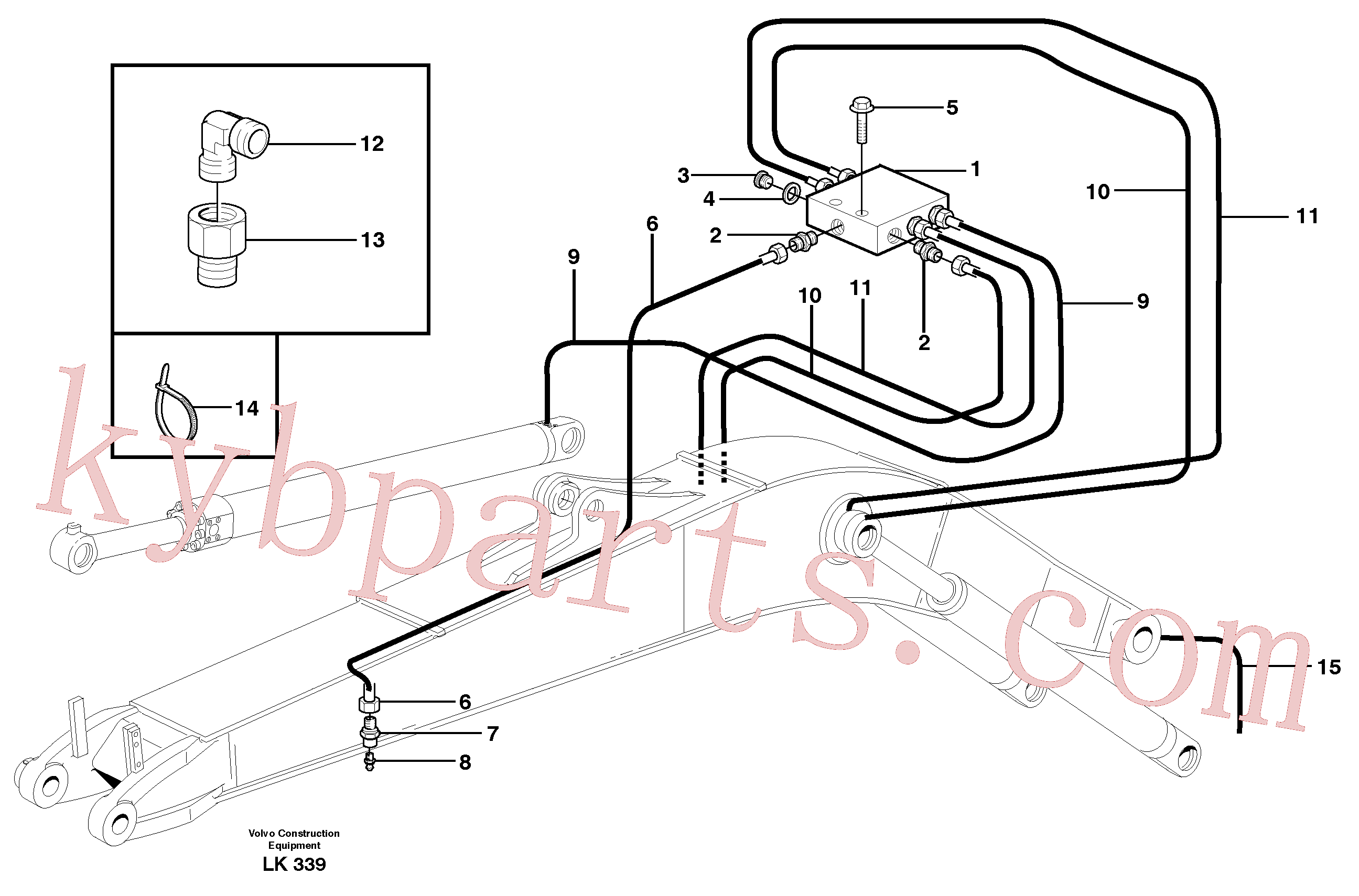 VOE14370347 for Volvo Central lubrication, mono boom(LK339 assembly)