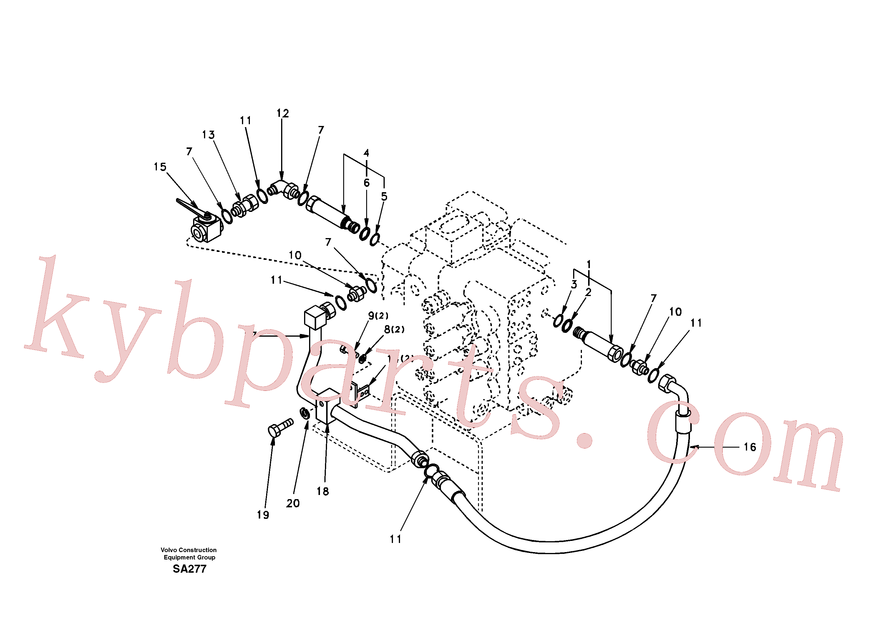 SA9419-11040 for Volvo Working hydraulic, hammer and shear for 2nd pump flow(SA277 assembly)
