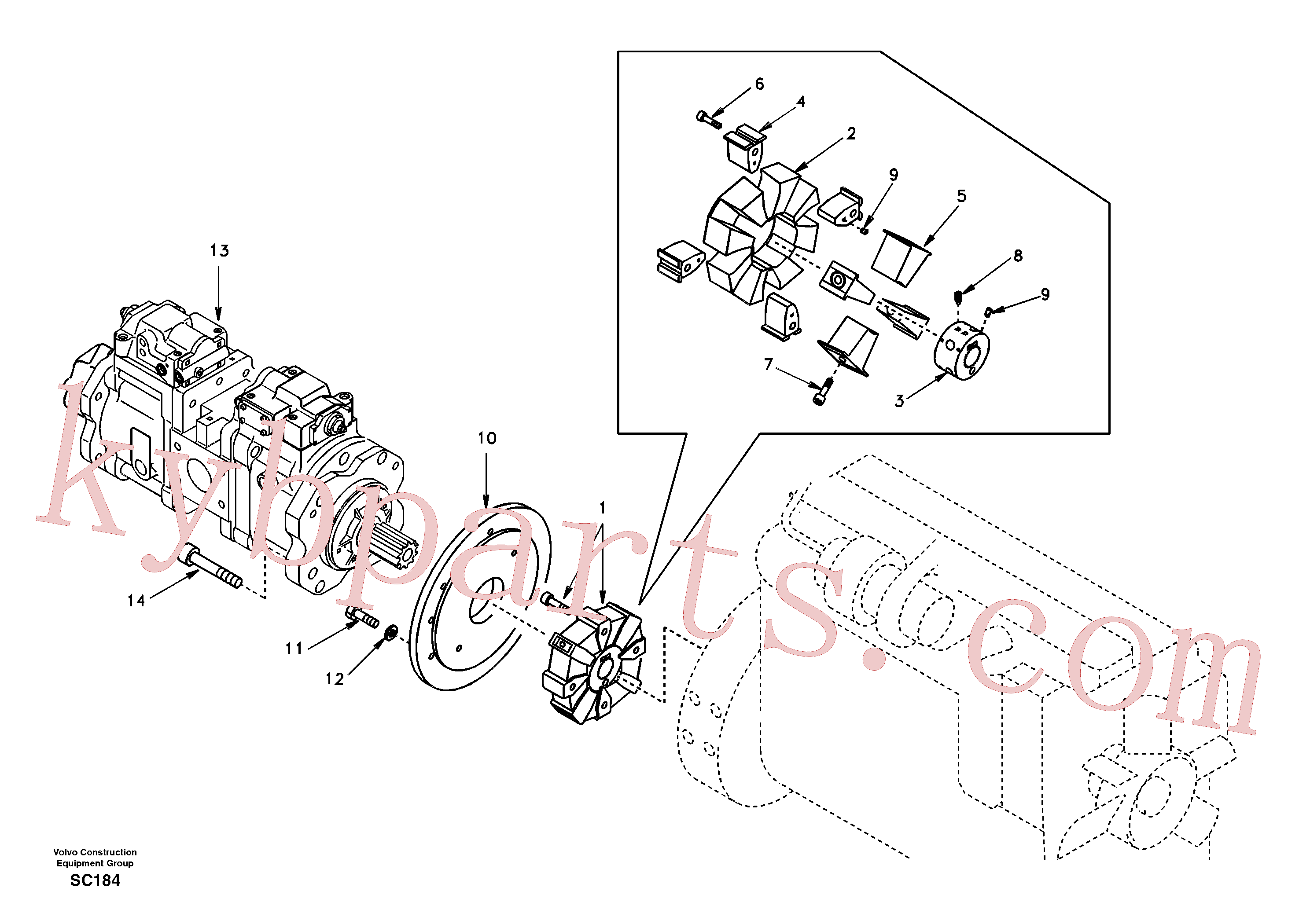 SA1012-01350 for Volvo Pump gearbox with assembling parts(SC184 assembly)