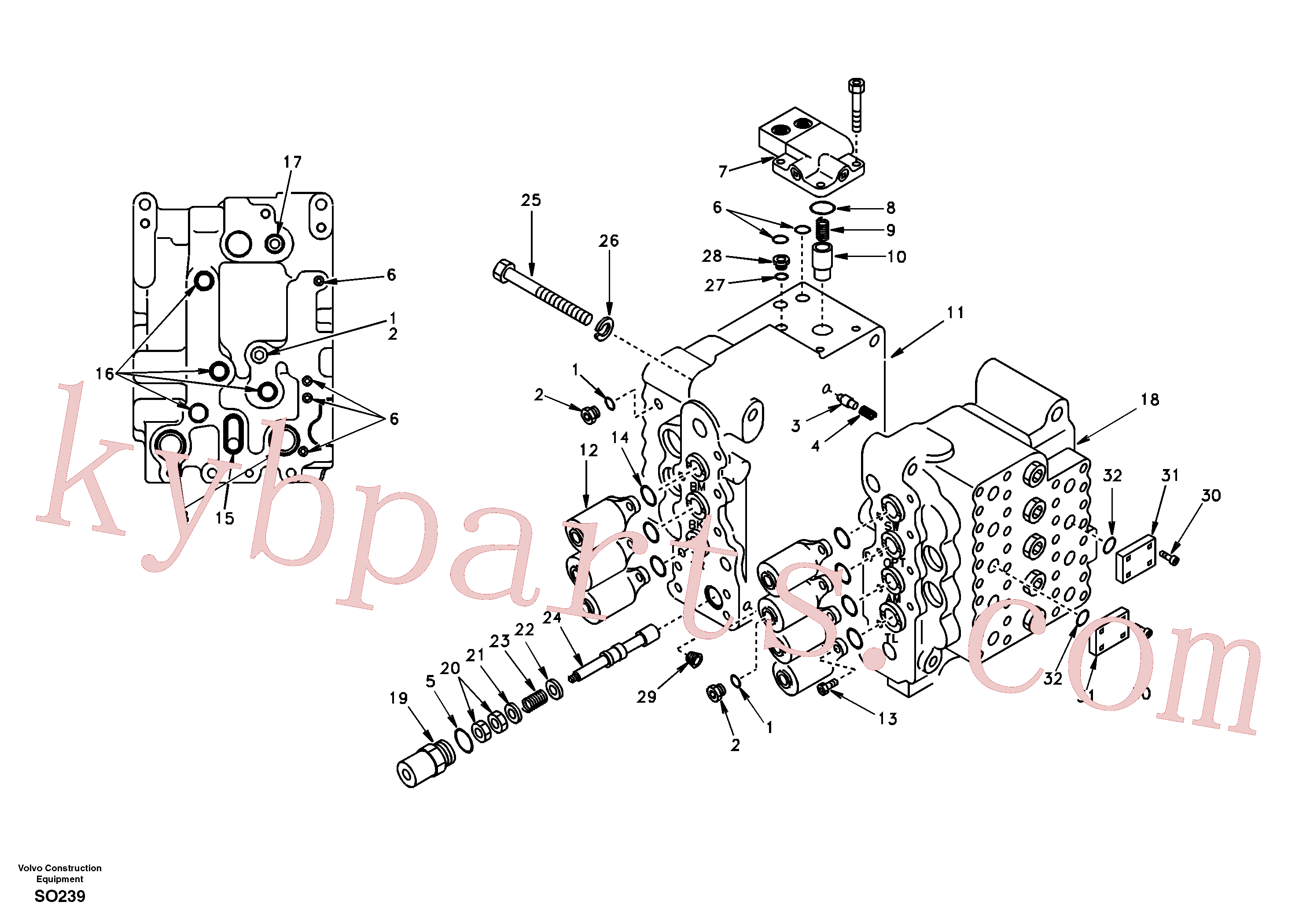SA8230-00331 for Volvo Control valve with fitting parts.(SO239 assembly)