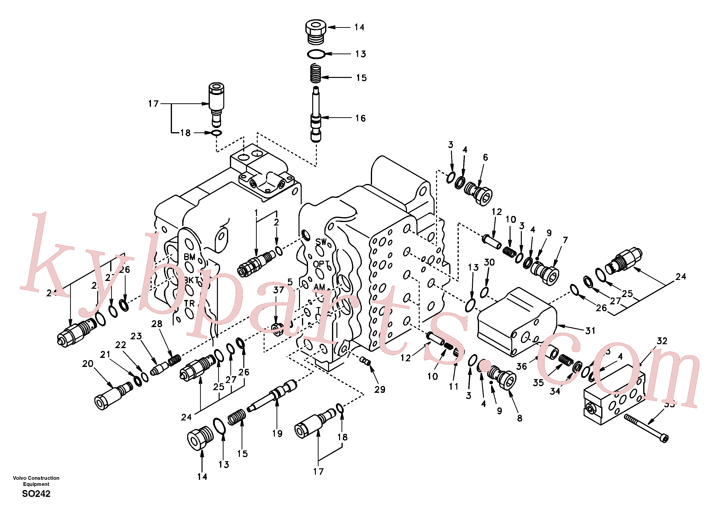 SA8230-13030 for Volvo Main control valve, relief valve and dipper arm holding(SO242 assembly)