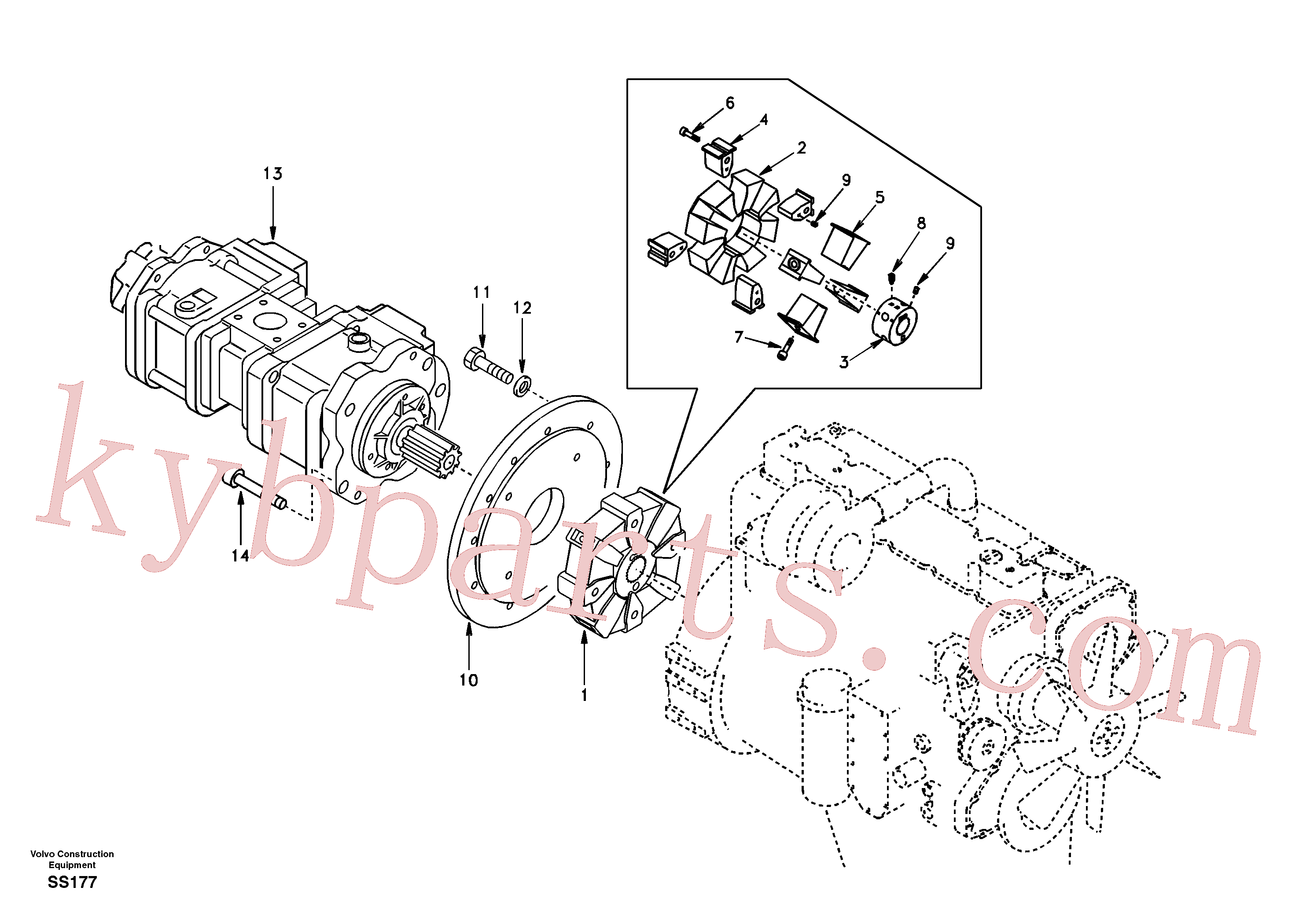 SA1012-01350 for Volvo Pump gearbox with assembling parts(SS177 assembly)