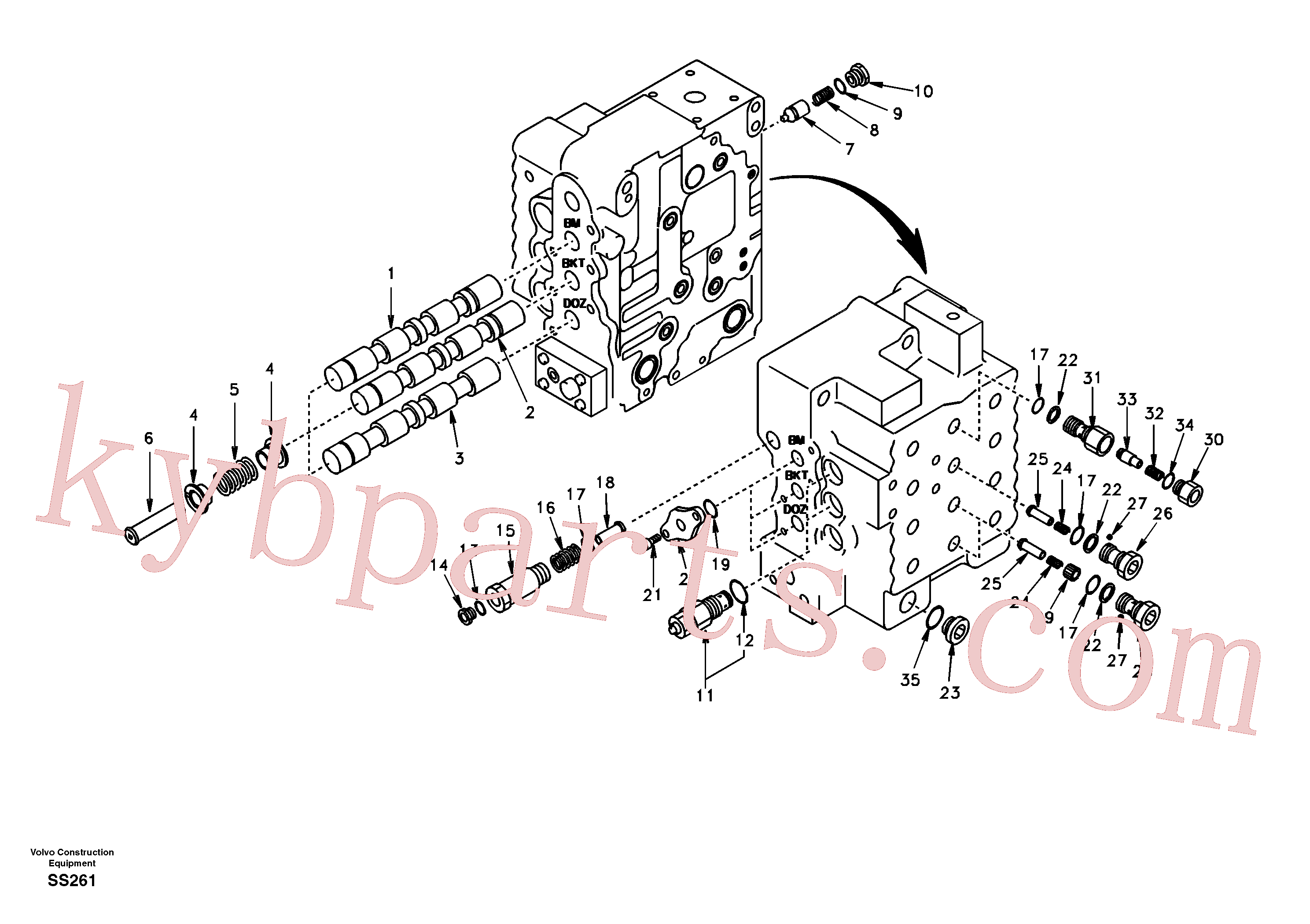 SA7273-10651 for Volvo Main control valve, boom and bucket and travel Rh(SS261 assembly)