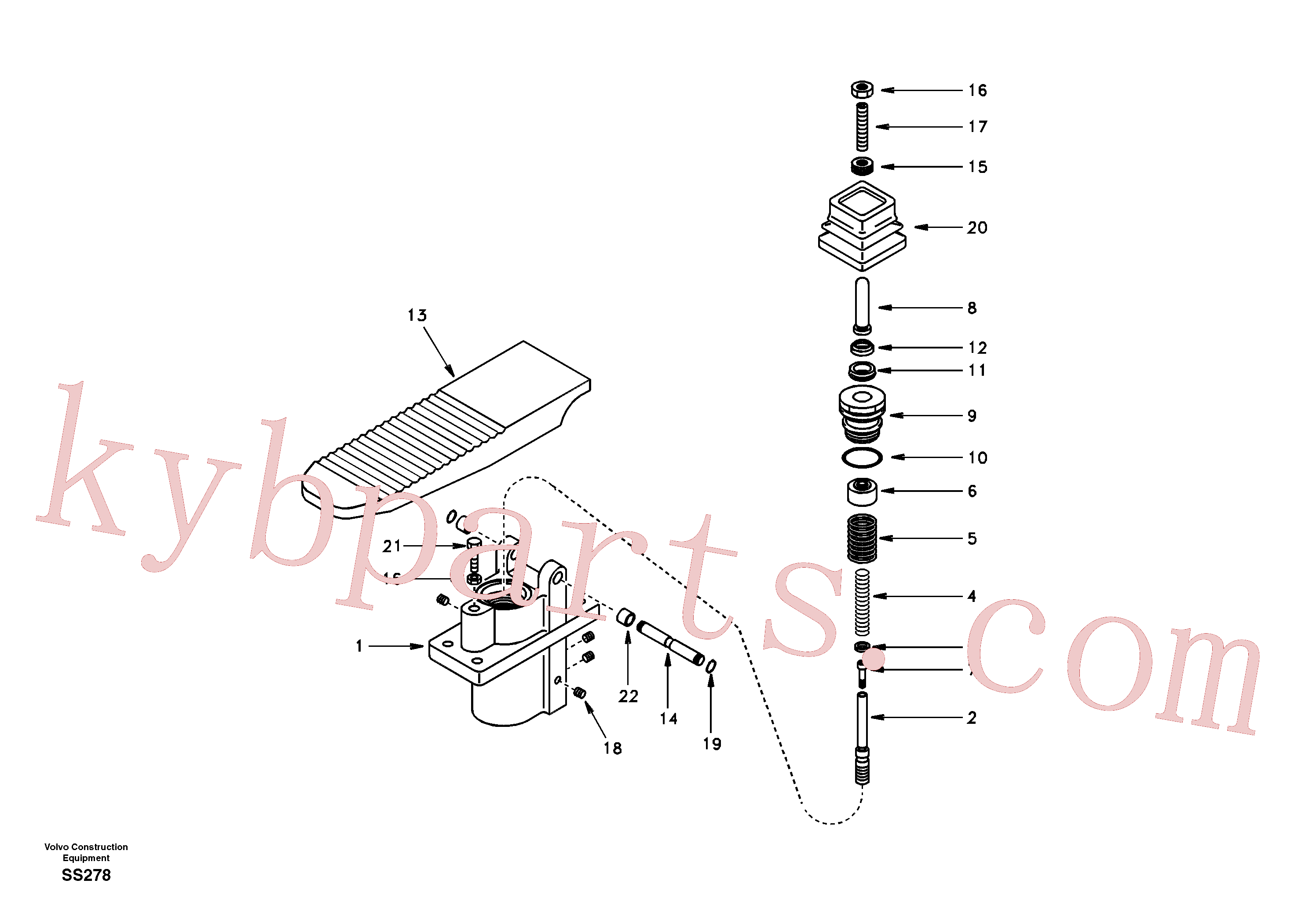 SA7263-00021 for Volvo Remote control valve pedal, travel motor(SS278 assembly)