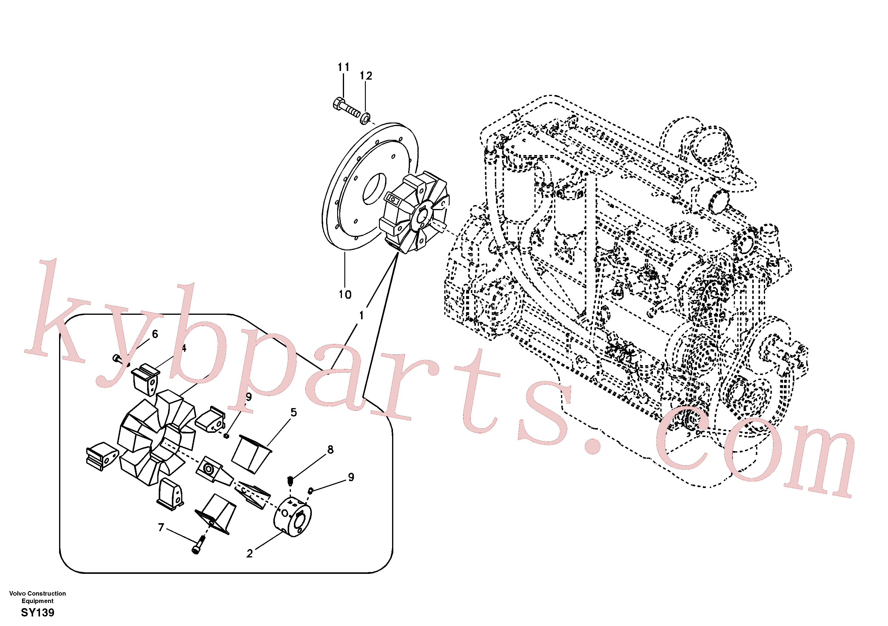 VOE14514872 for Volvo Pump gearbox with assembling parts(SY139 assembly)